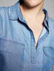 پیراهن جین کوتاه زنانه - ویولتا بای مانگو - آبي  - 2