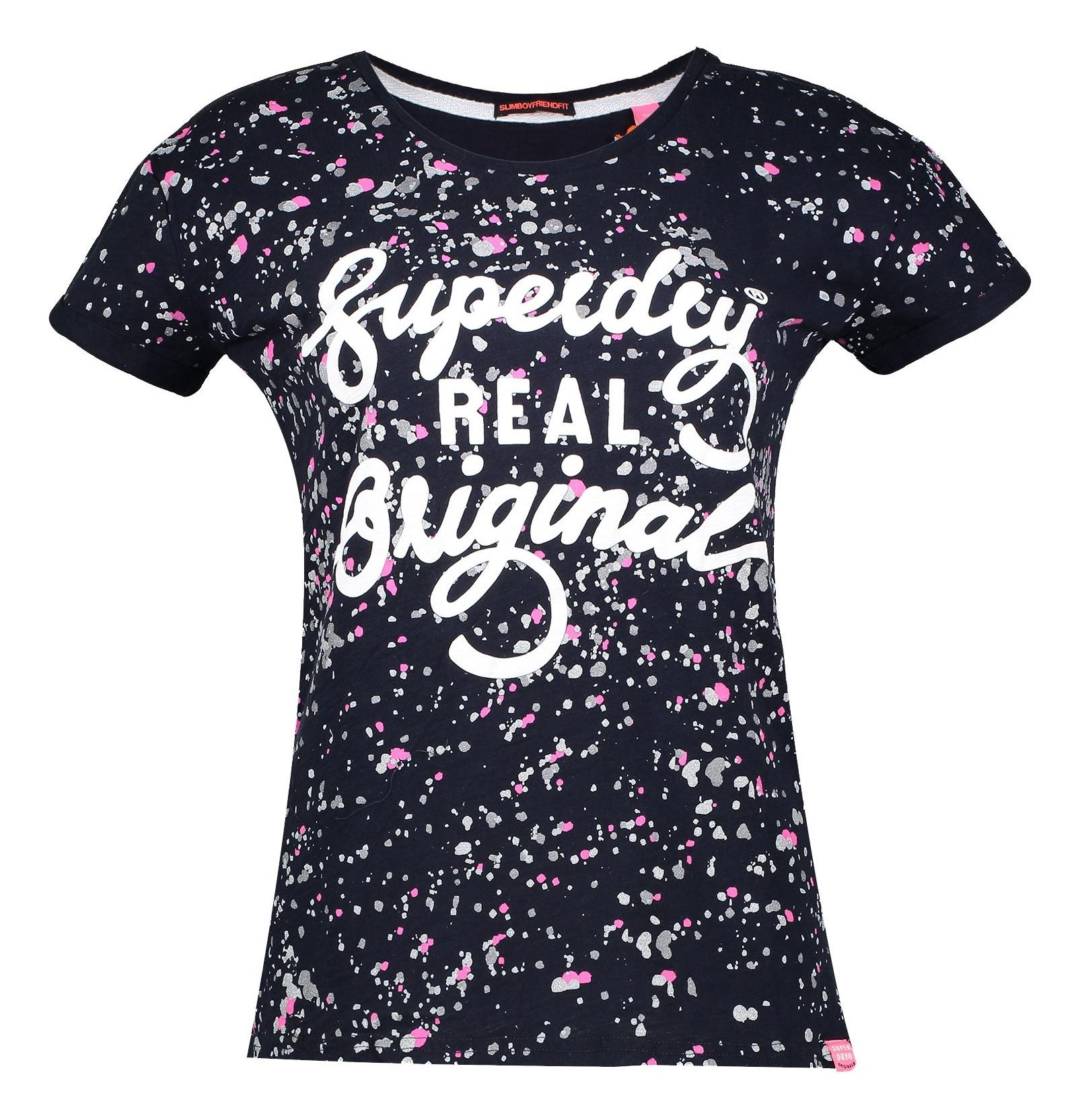 تی شرت نخی یقه گرد زنانه - سوپردرای - سرمه اي - 1