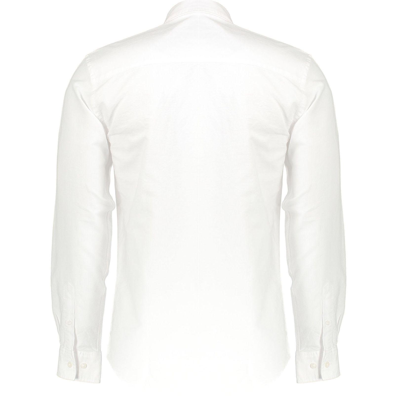 پیراهن نخی آستین بلند مردانه Jay 2.0 - مینیموم - سفيد - 2