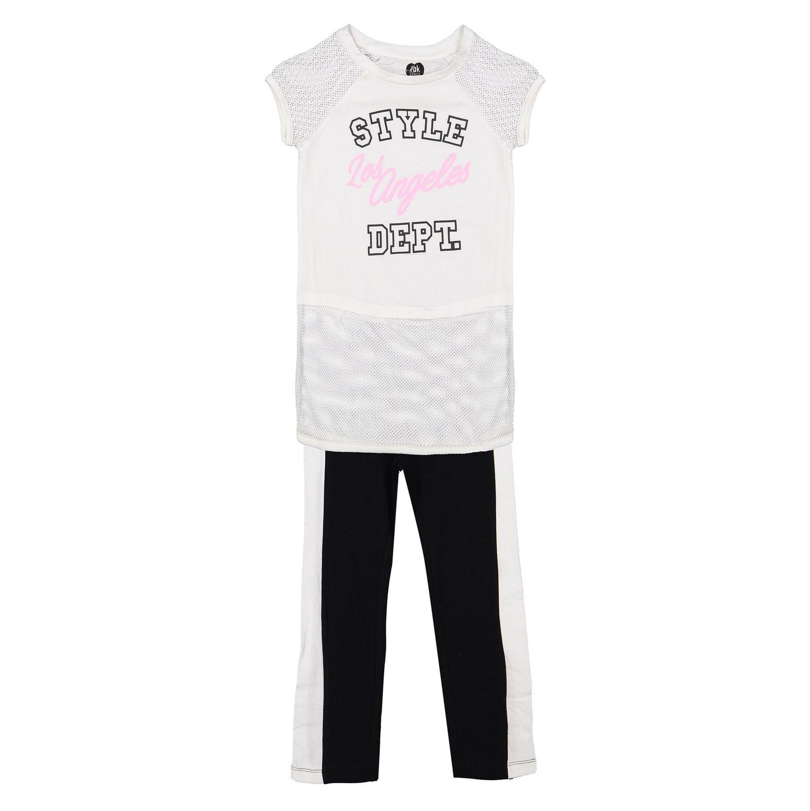 تی شرت و شلوار دخترانه - بلوکیدز - سفيد/مشکي - 1
