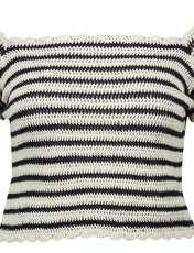 تی شرت نخی یقه گرد زنانه - مانگو - سرمه ای - 1