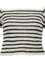 تی شرت نخی یقه گرد زنانه - مانگو - سرمه ای - 2