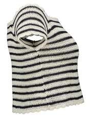 تی شرت نخی یقه گرد زنانه - مانگو - سرمه ای - 4