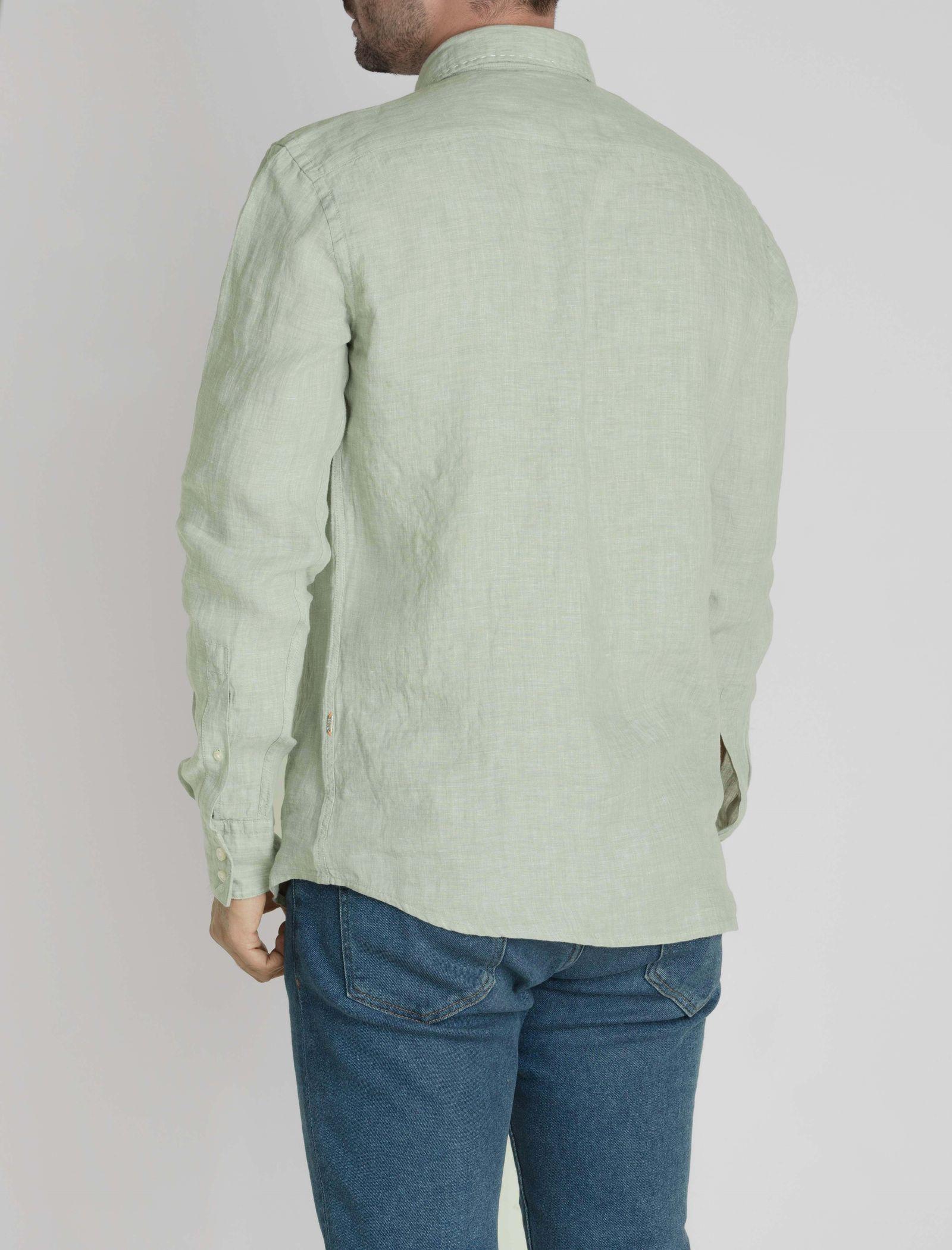 پیراهن آستین بلند مردانه Classy_1 - باس اورنج - سبز روشن  - 5