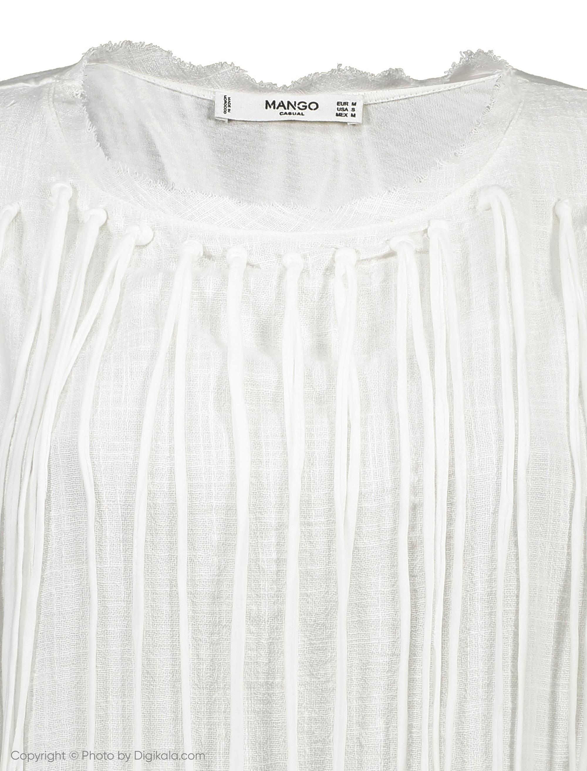 تی شرت نخی یقه گرد زنانه - مانگو - سفید - 4