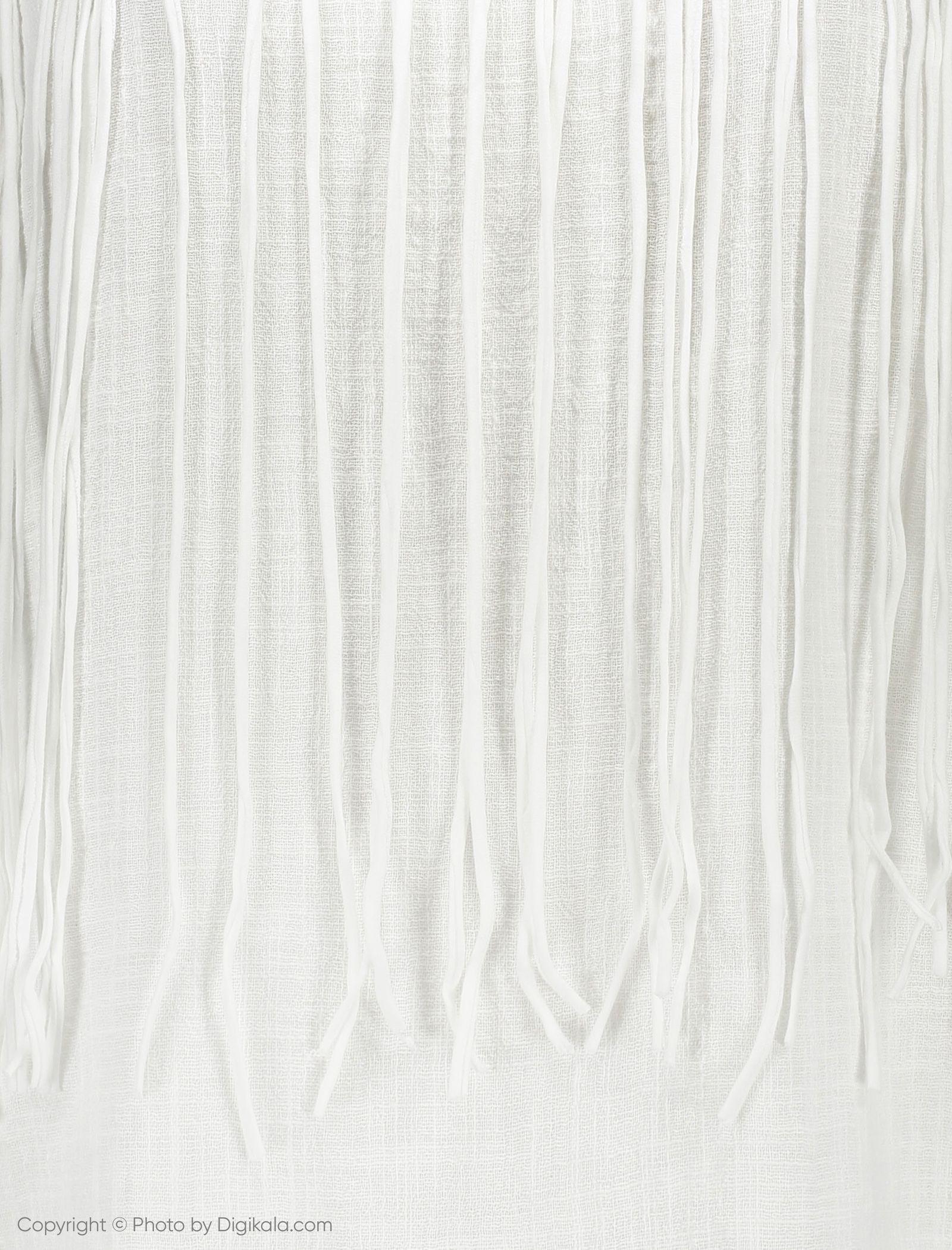تی شرت نخی یقه گرد زنانه - مانگو - سفید - 5