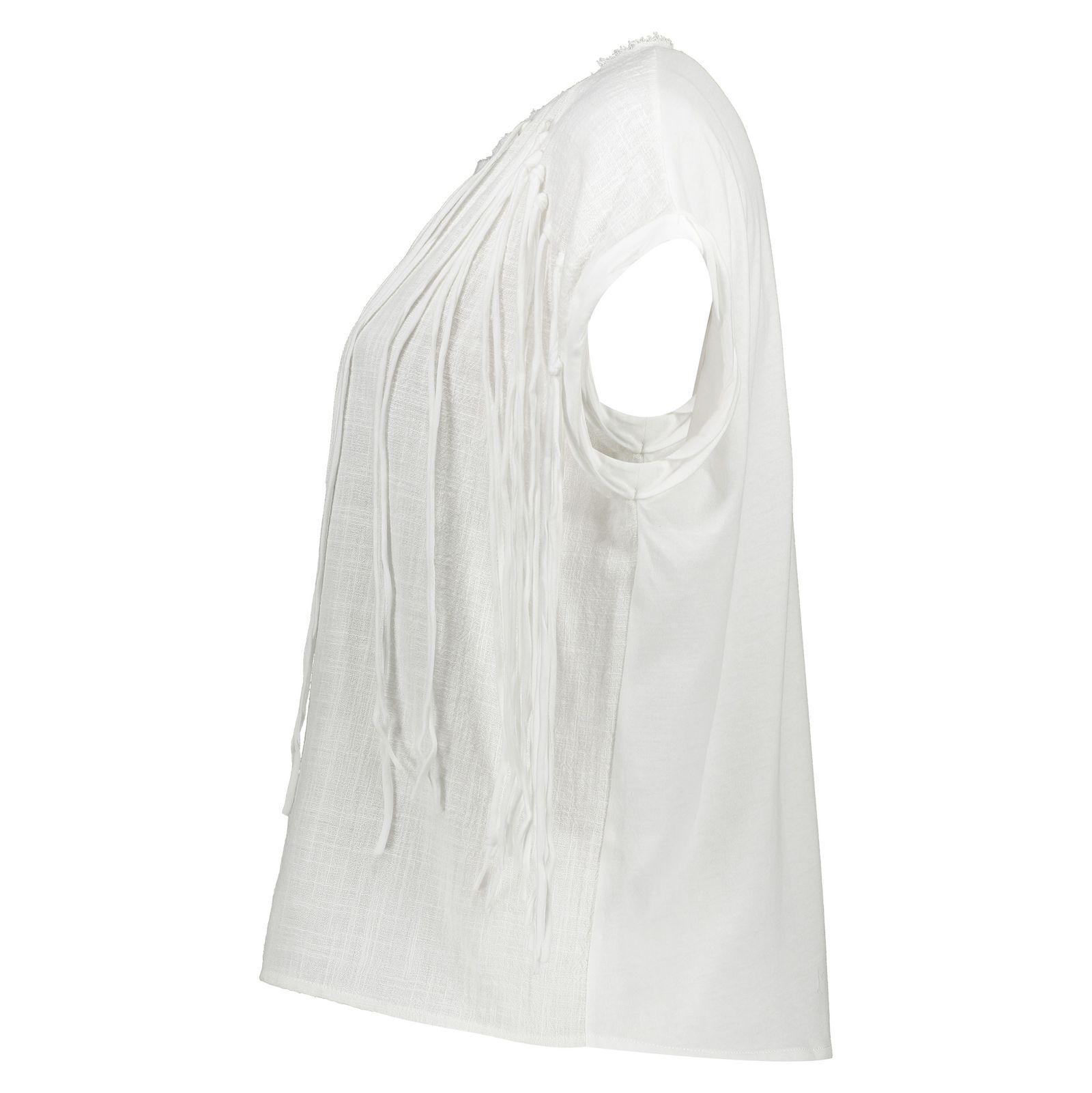 تی شرت نخی یقه گرد زنانه - مانگو - سفید - 2