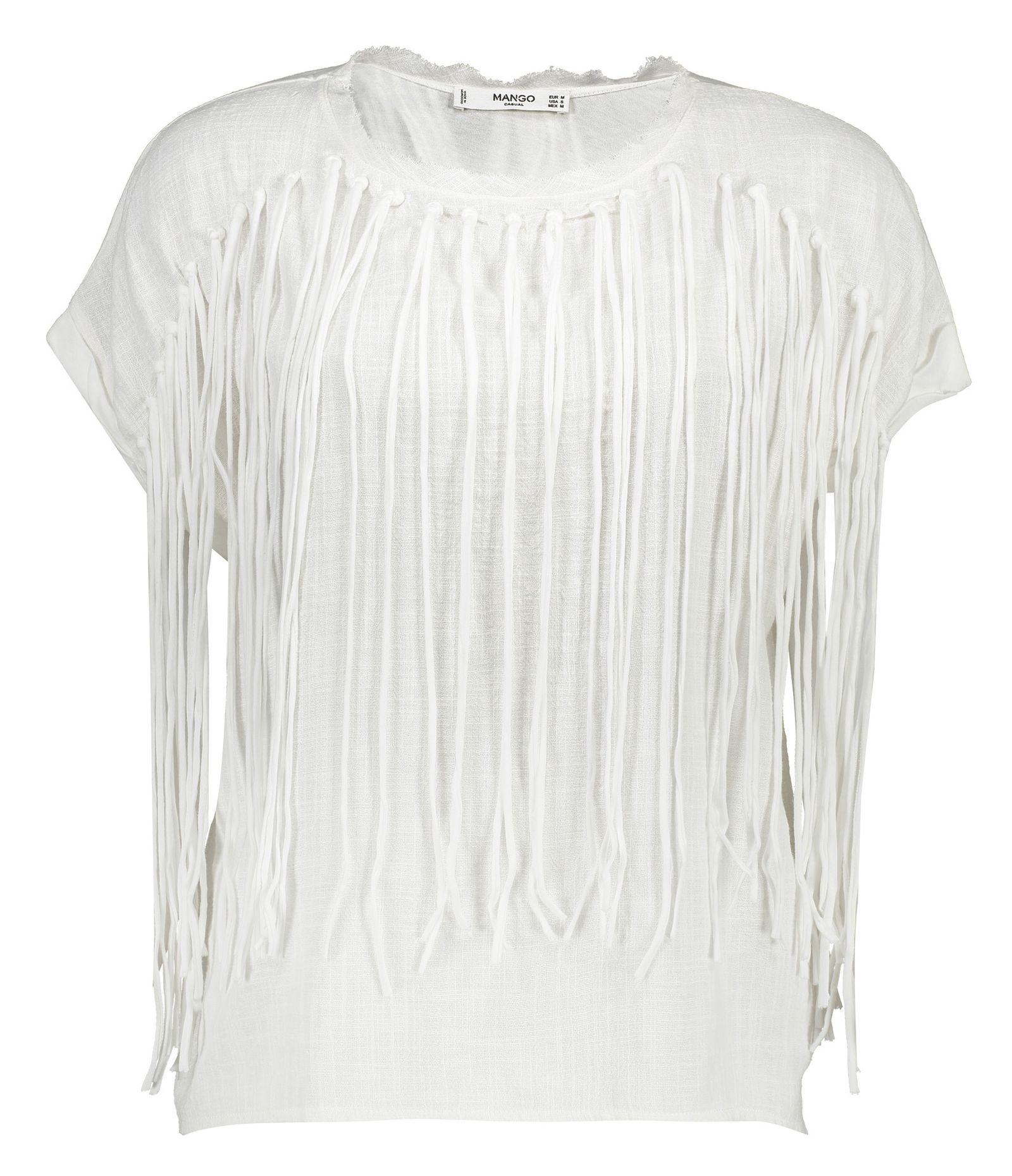 تی شرت نخی یقه گرد زنانه - مانگو - سفید - 1