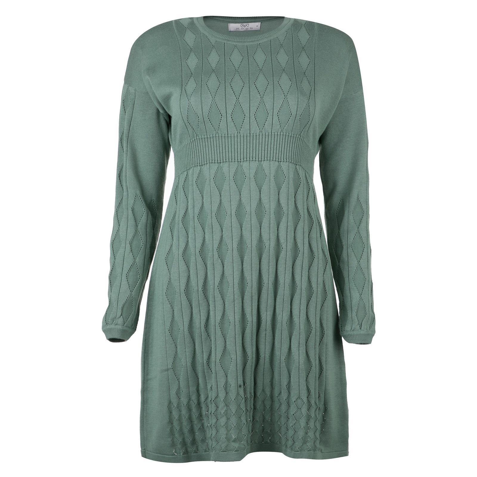 پیراهن میدی زنانه - مون - سبز - 1