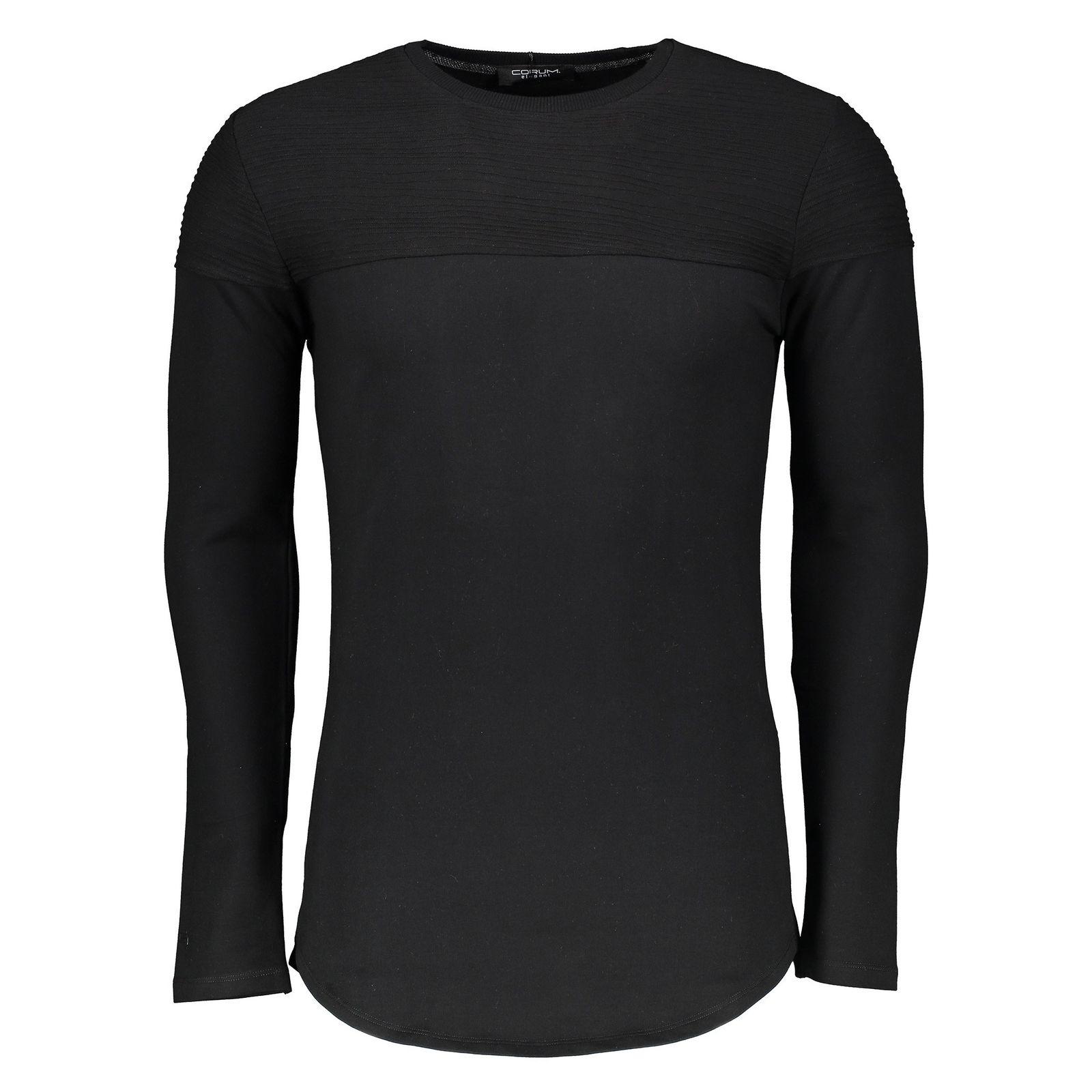 تی شرت نخی یقه گرد مردانه - کروم - مشکي - 1