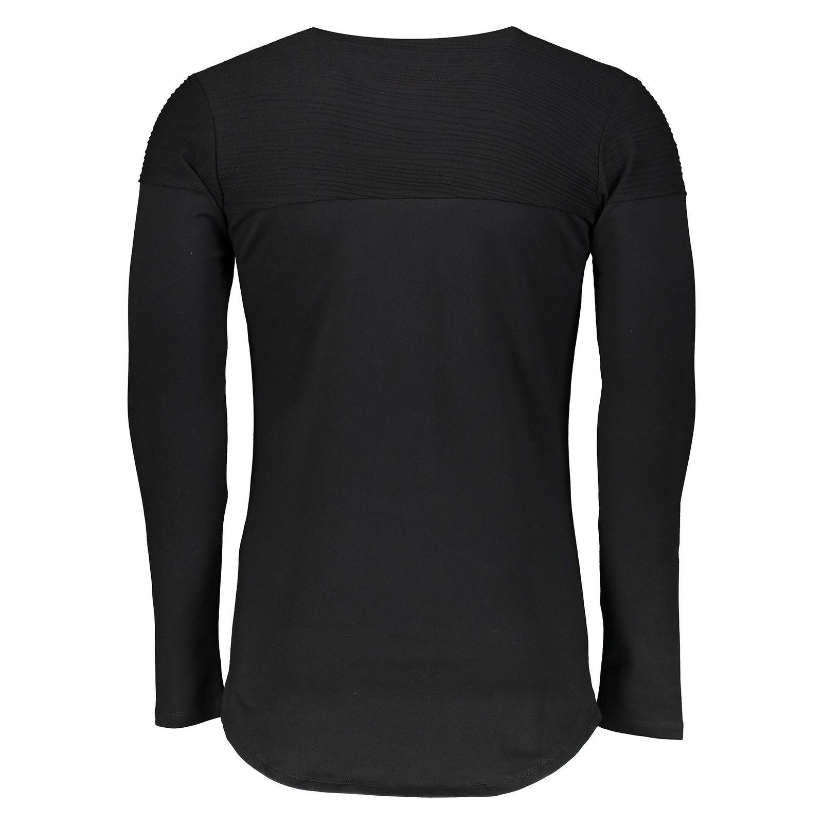 تی شرت نخی یقه گرد مردانه - کروم - مشکي - 2