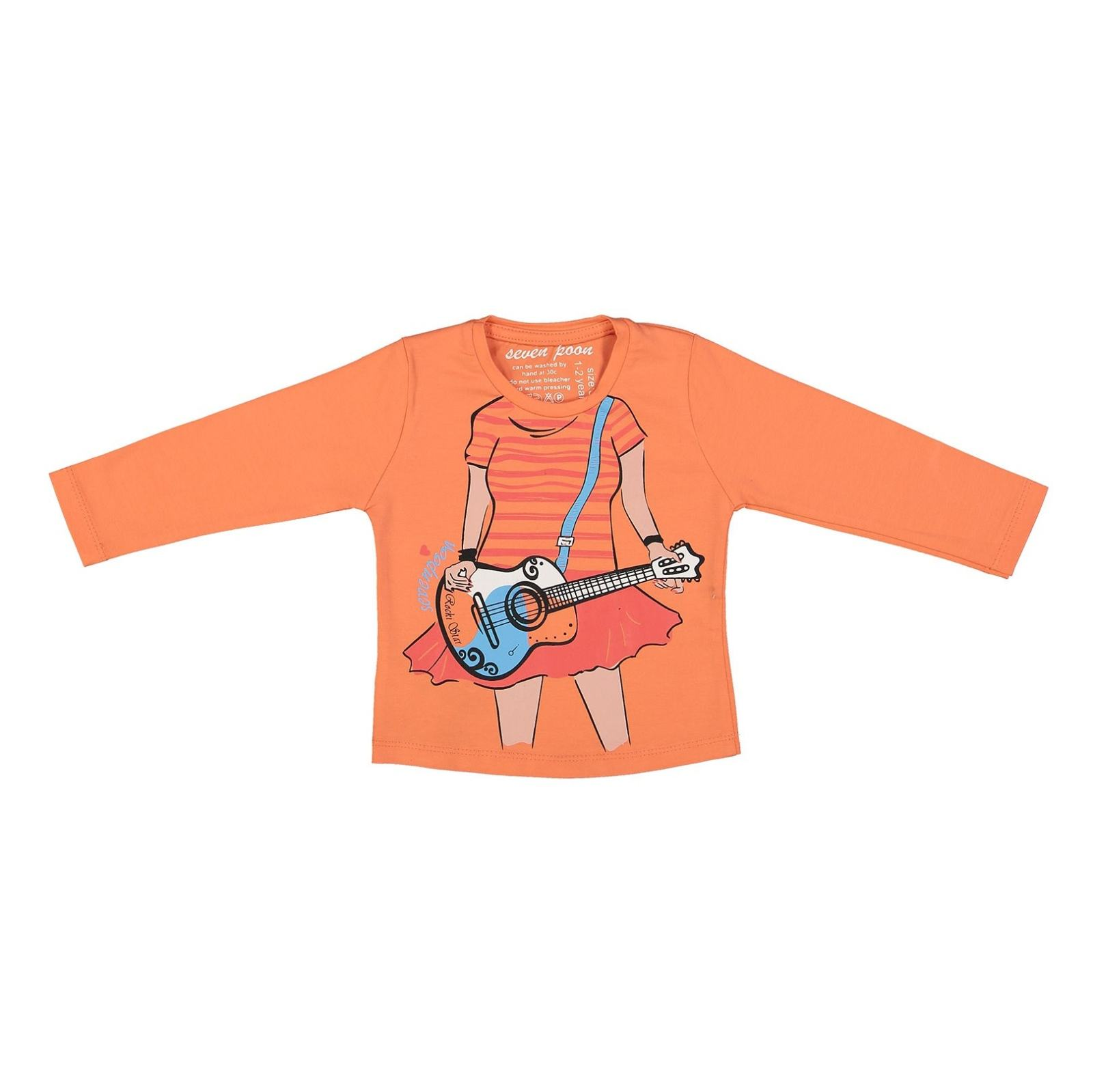 تی شرت نخی یقه گرد دخترانه - سون پون - نارنجی - 1