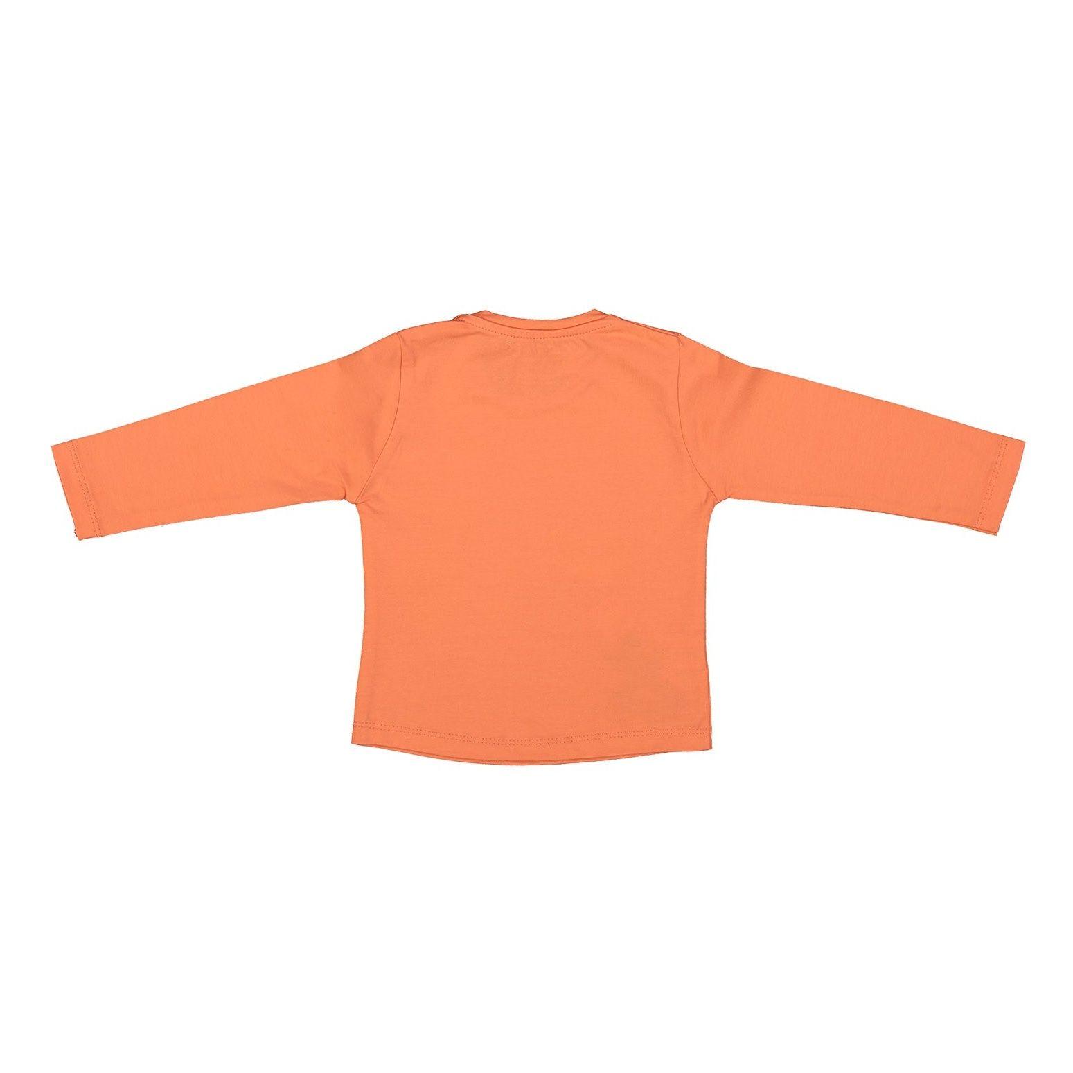 تی شرت نخی یقه گرد دخترانه - سون پون - نارنجی - 2