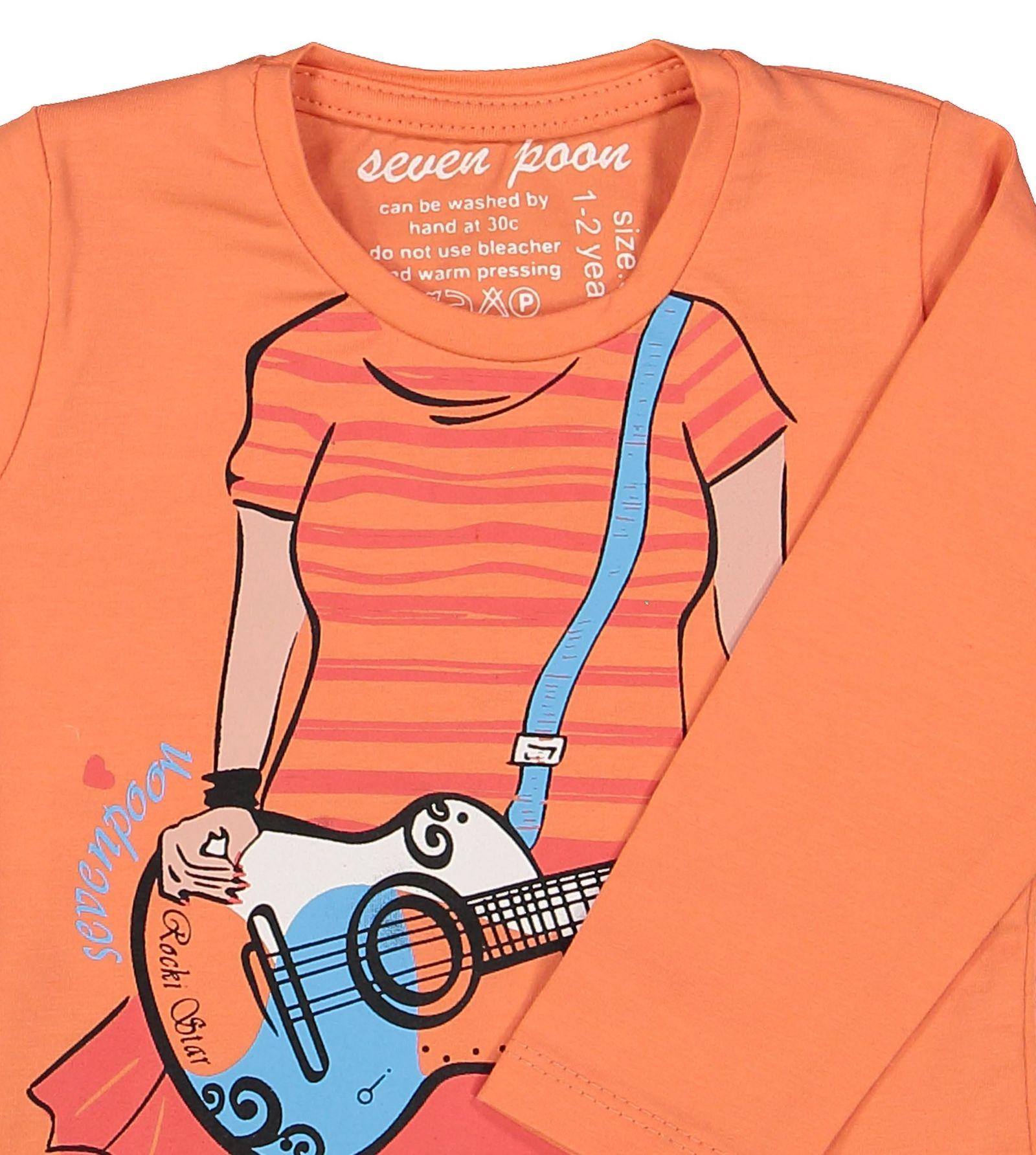 تی شرت نخی یقه گرد دخترانه - سون پون - نارنجی - 3