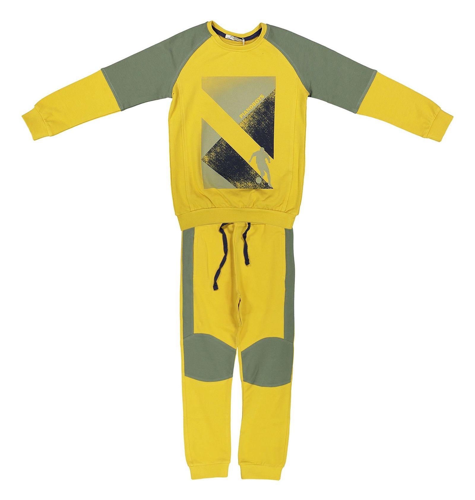 پیراهن و شلوار پسرانه - پیانو - زرد - 1