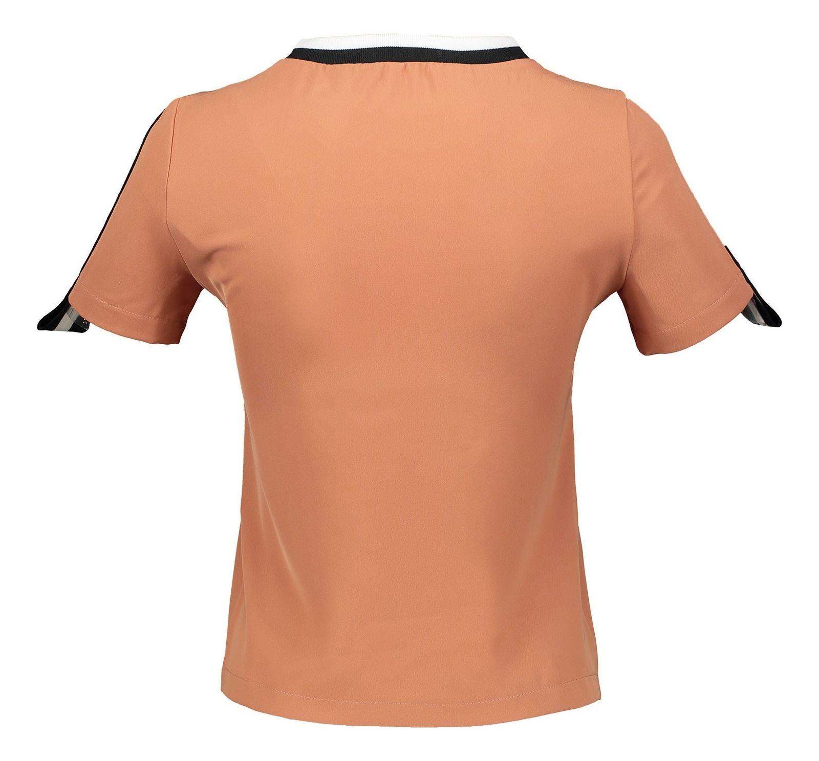 تی شرت یقه گرد زنانه - امپریال - نارنجي تيره - 4