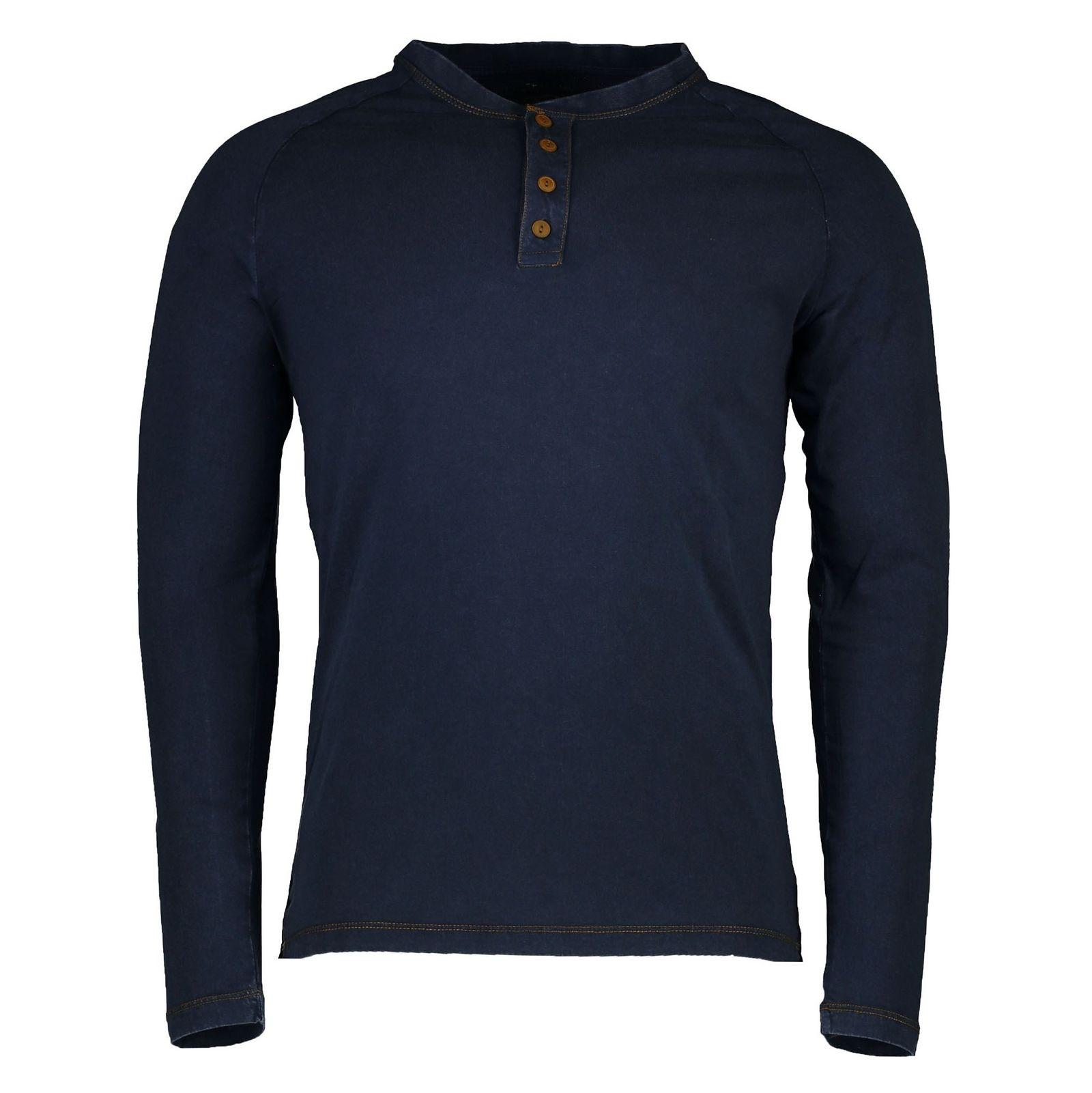 تی شرت نخی یقه هفت مردانه - یوپیم - سرمه اي - 1