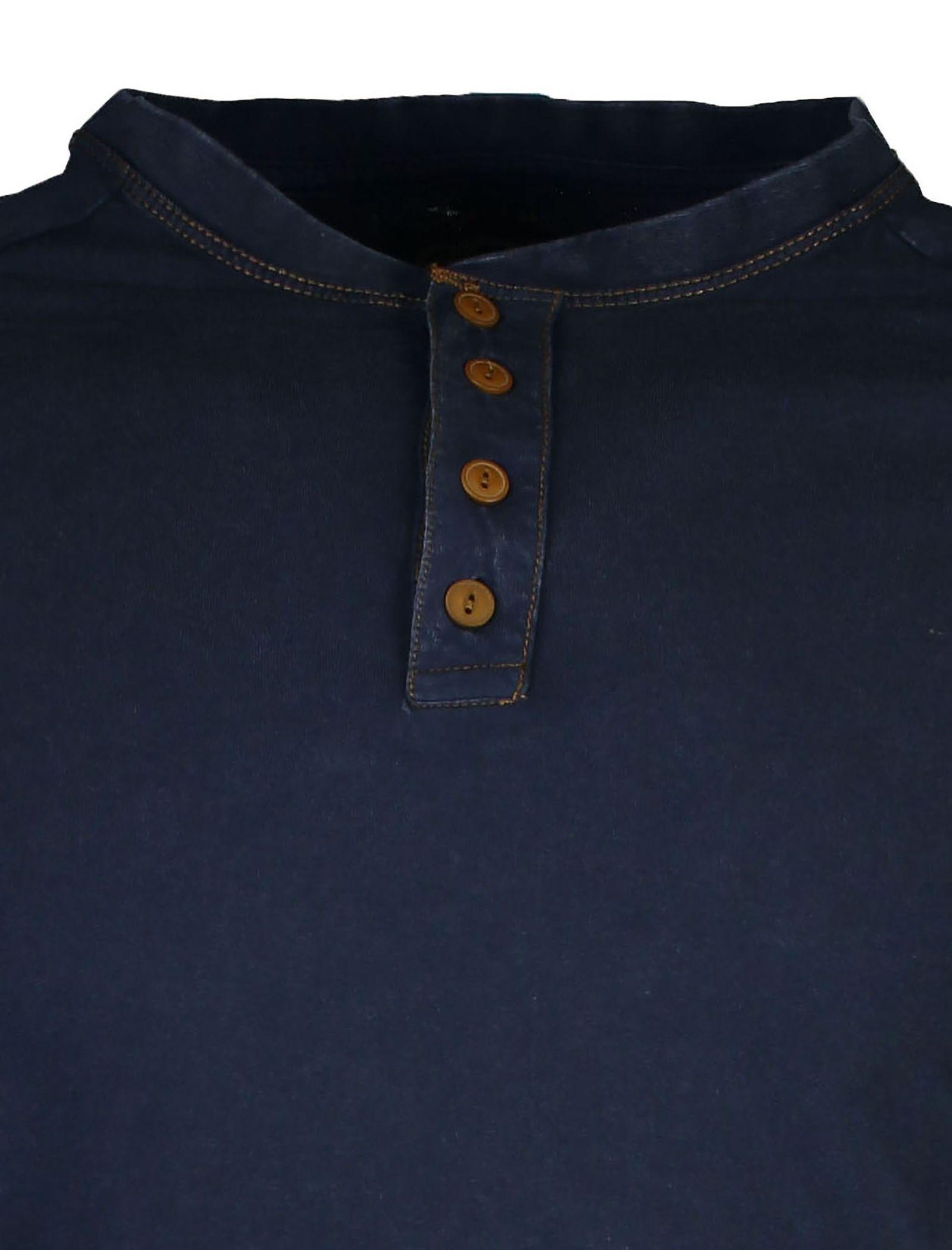 تی شرت نخی یقه هفت مردانه - یوپیم - سرمه اي - 4