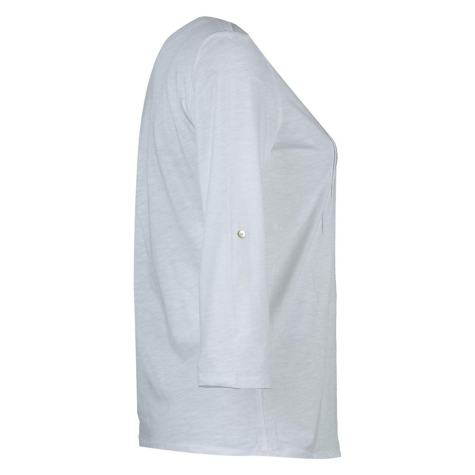 تی شرت نخی یقه گرد زنانه - یوپیم - سفيد - 2