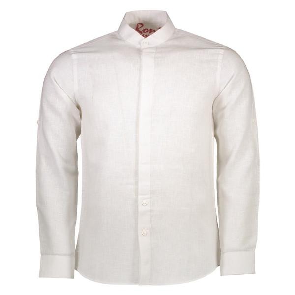 پیراهن نخی یقه ایستاده مردانه - رونی