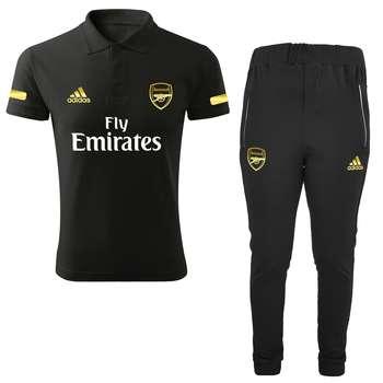 ست پولوشرت و شلوار ورزشی مردانه طرح آرسنال کد RS2021 رنگ مشکی