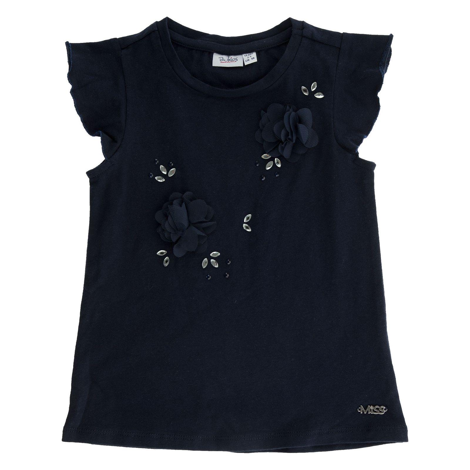 تی شرت نخی یقه گرد دخترانه - بلوکیدز - سرمه اي - 1