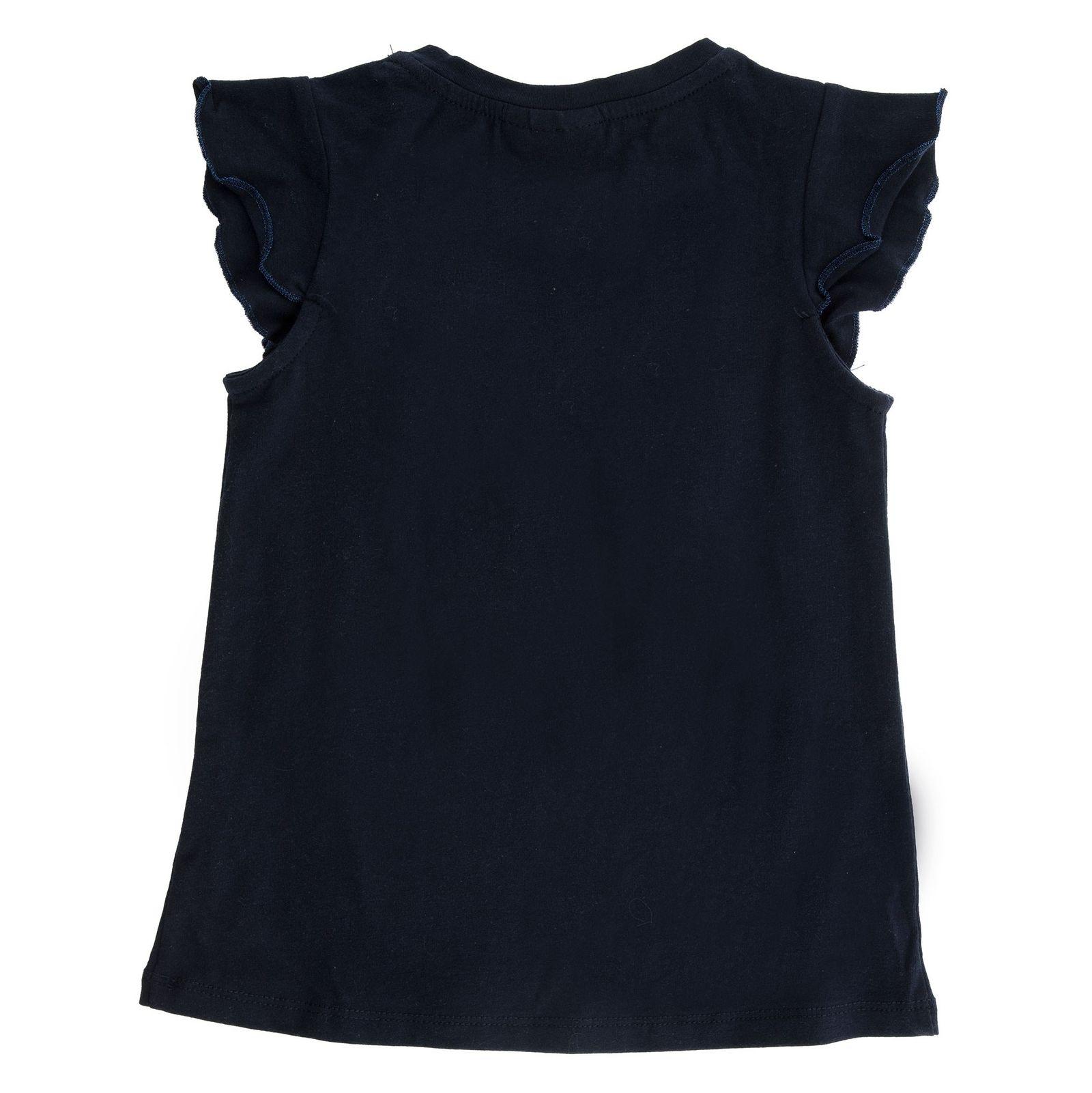 تی شرت نخی یقه گرد دخترانه - بلوکیدز - سرمه اي - 2