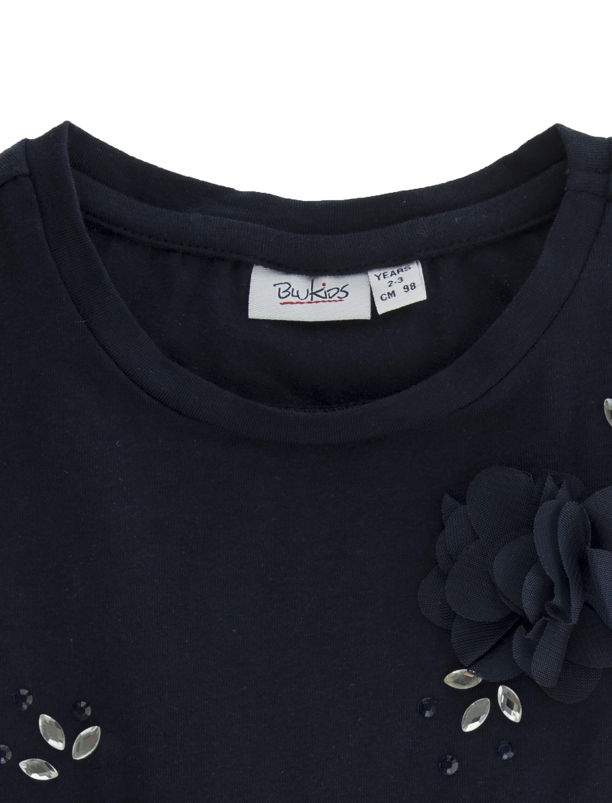 تی شرت نخی یقه گرد دخترانه - بلوکیدز - سرمه اي - 3