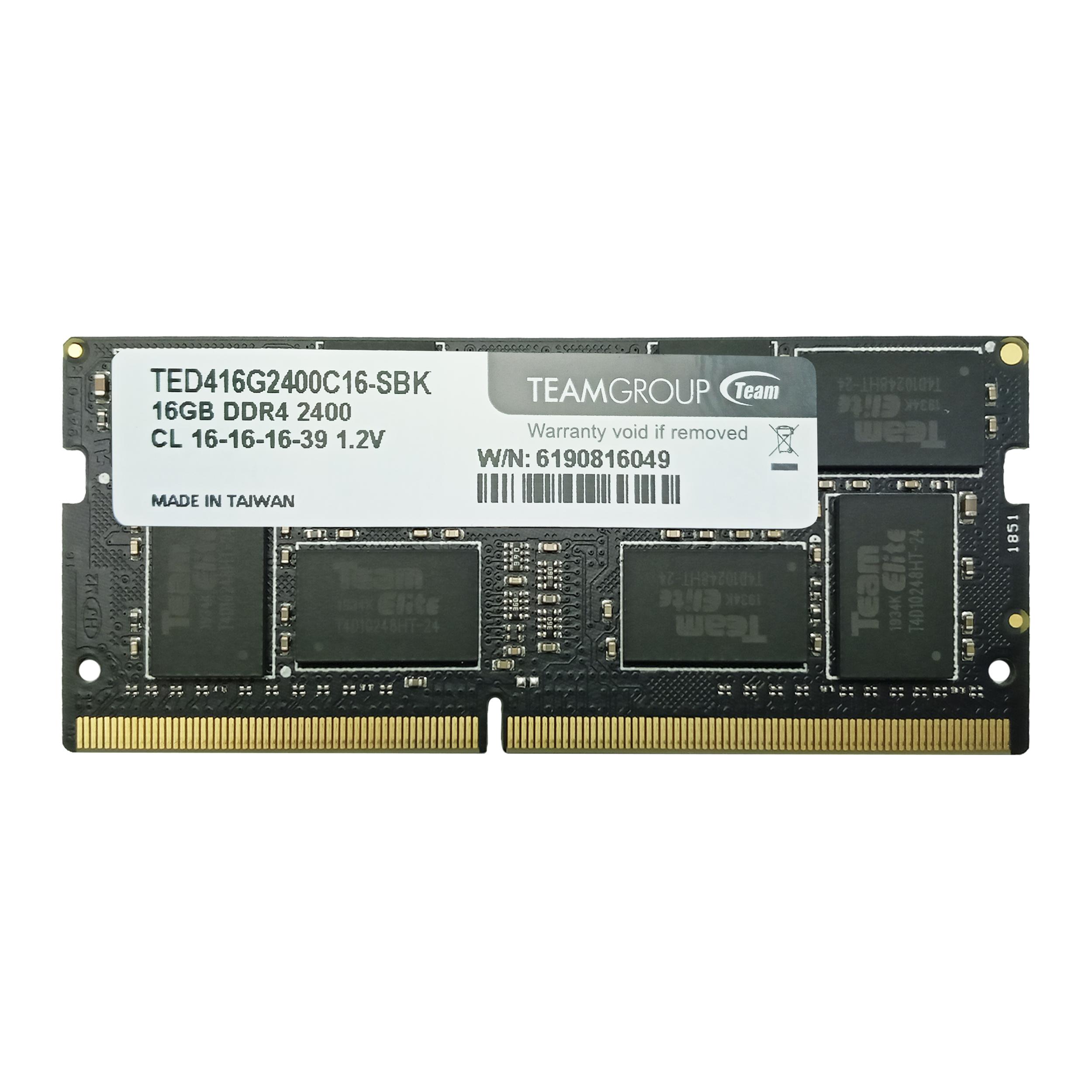 رم لپ تاپ DDR4 تک کاناله 2400 مگاهرتز CL16 تیم گروپ مدل Elite ظرفیت 16 گیگابایت