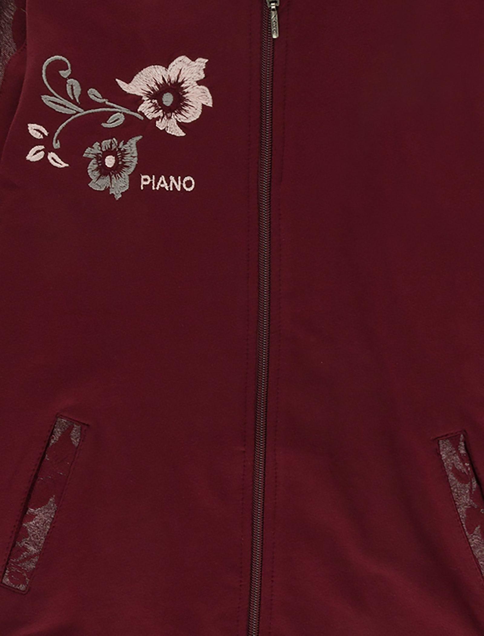 هودی و شلوار نخی دخترانه - پیانو - قرمز - 7