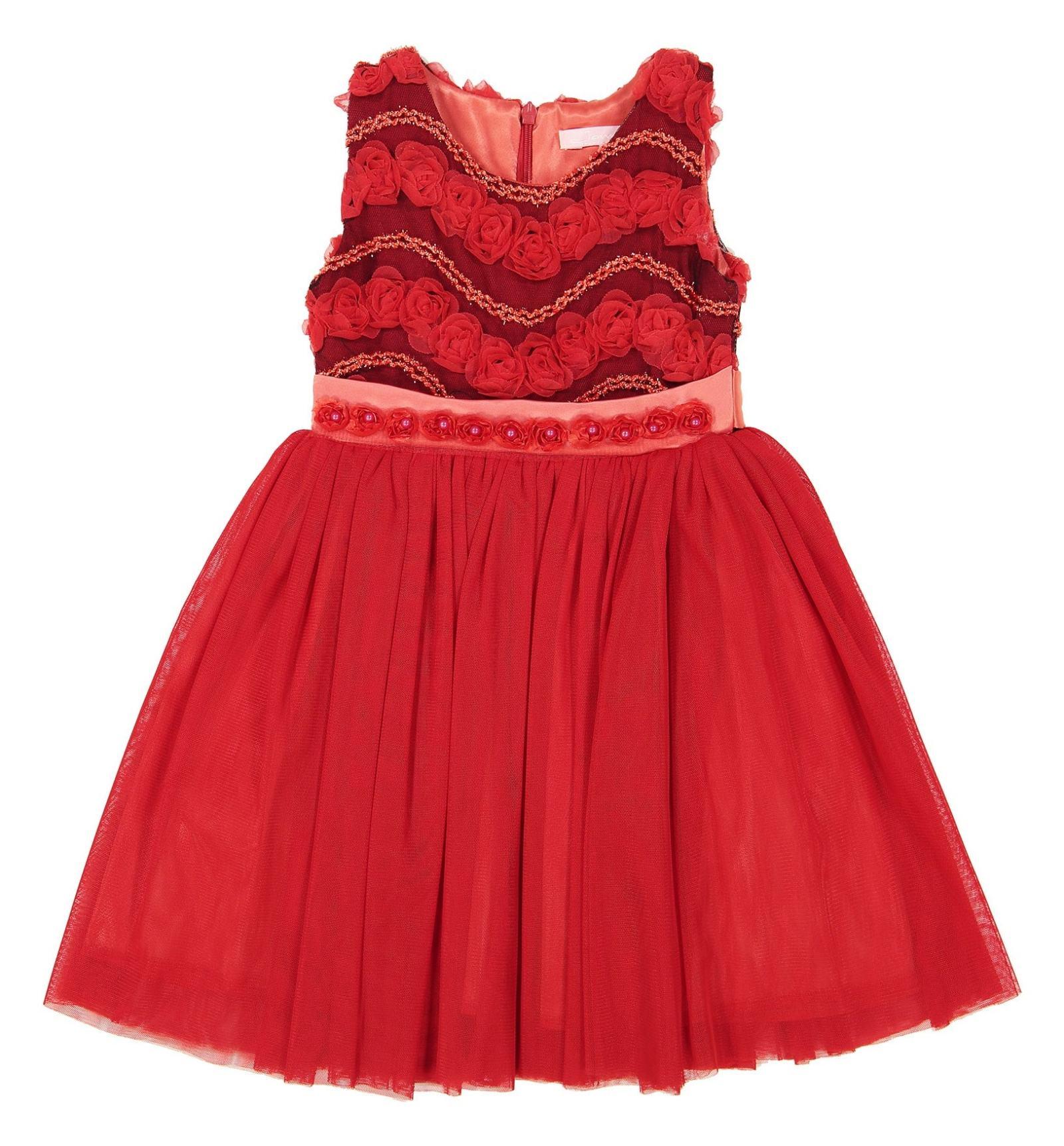 پیراهن مهمانی دخترانه - جم گل - قرمز  - 2