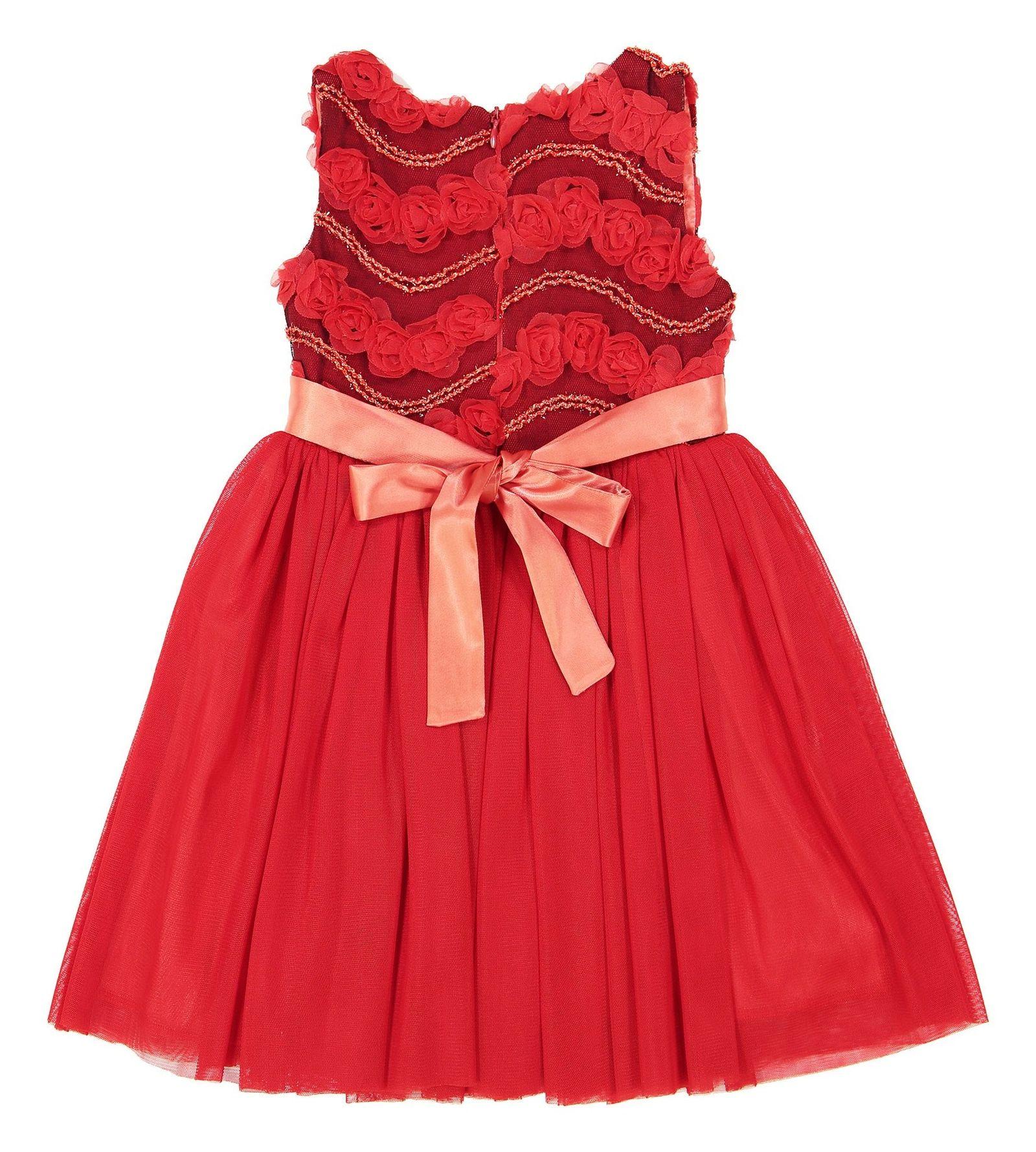 پیراهن مهمانی دخترانه - جم گل - قرمز  - 4