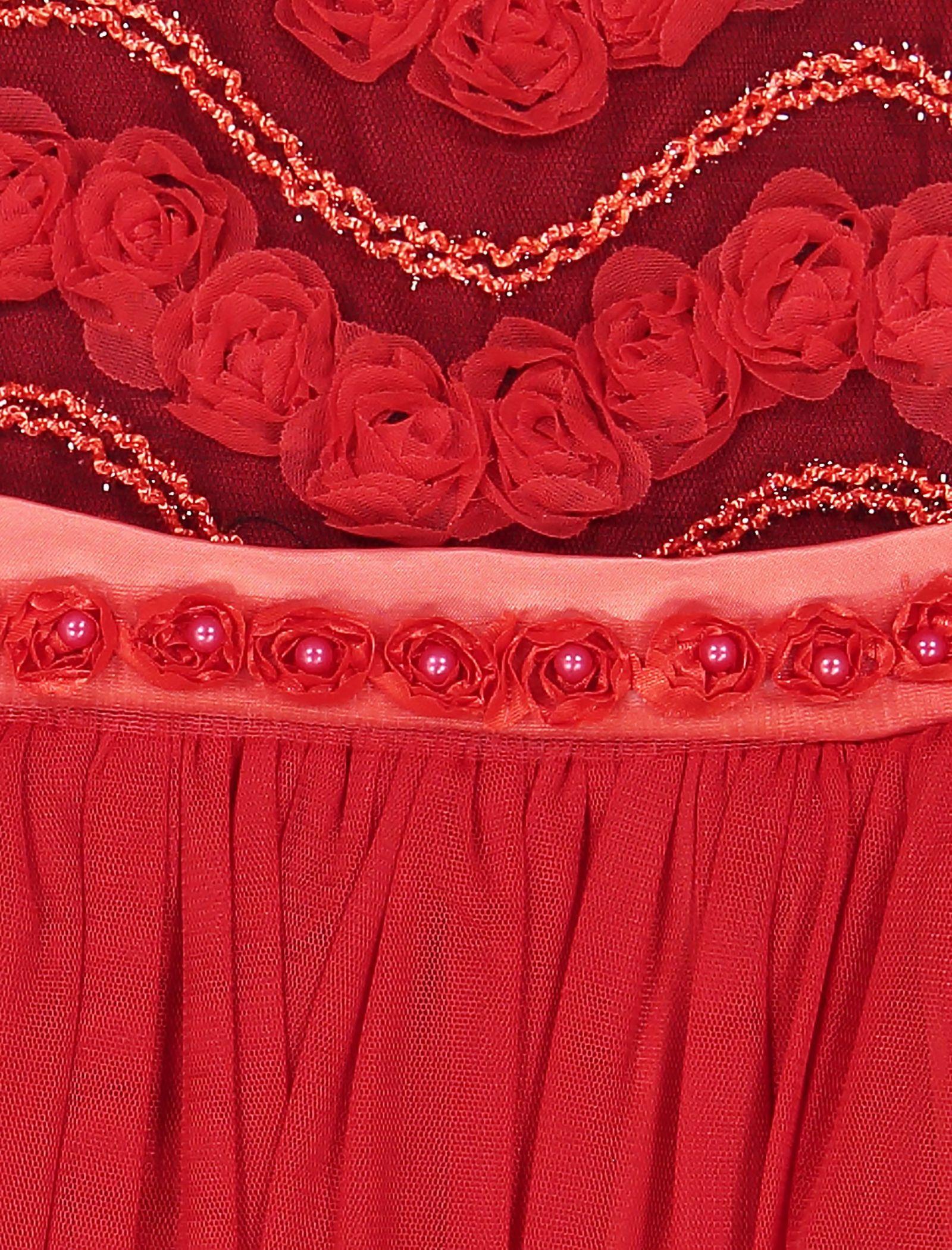 پیراهن مهمانی دخترانه - جم گل - قرمز  - 5