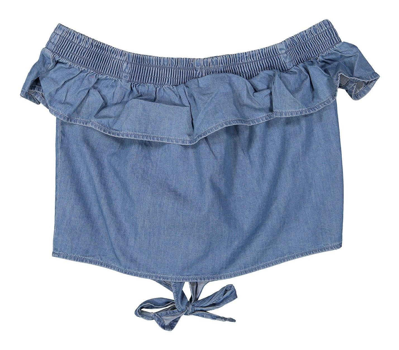بلوز جین یقه باز دخترانه - بلوکیدز - آبي - 2