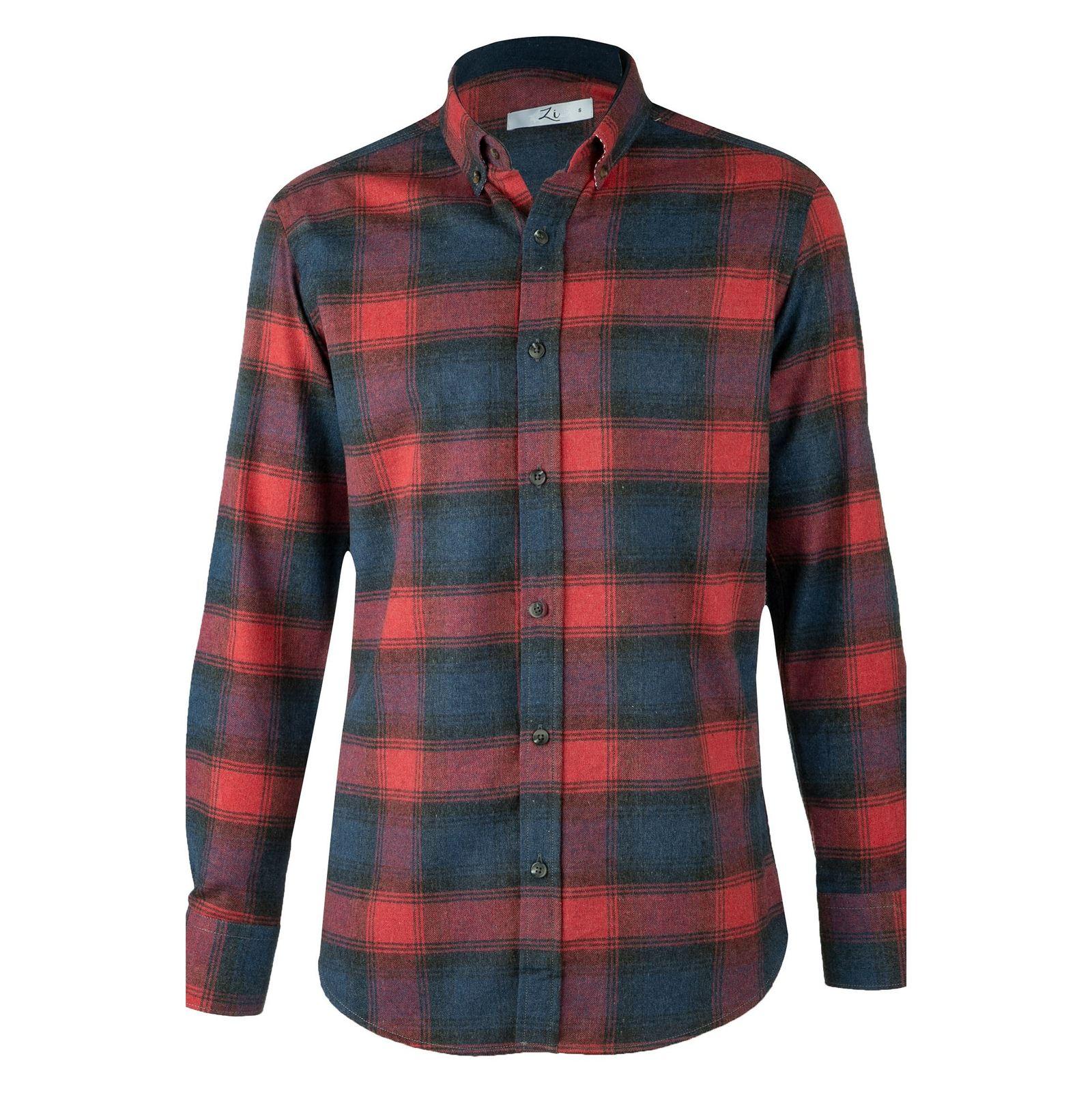 پیراهن نخی آستین بلند مردانه - زی - سرمه اي و طوسي - 1