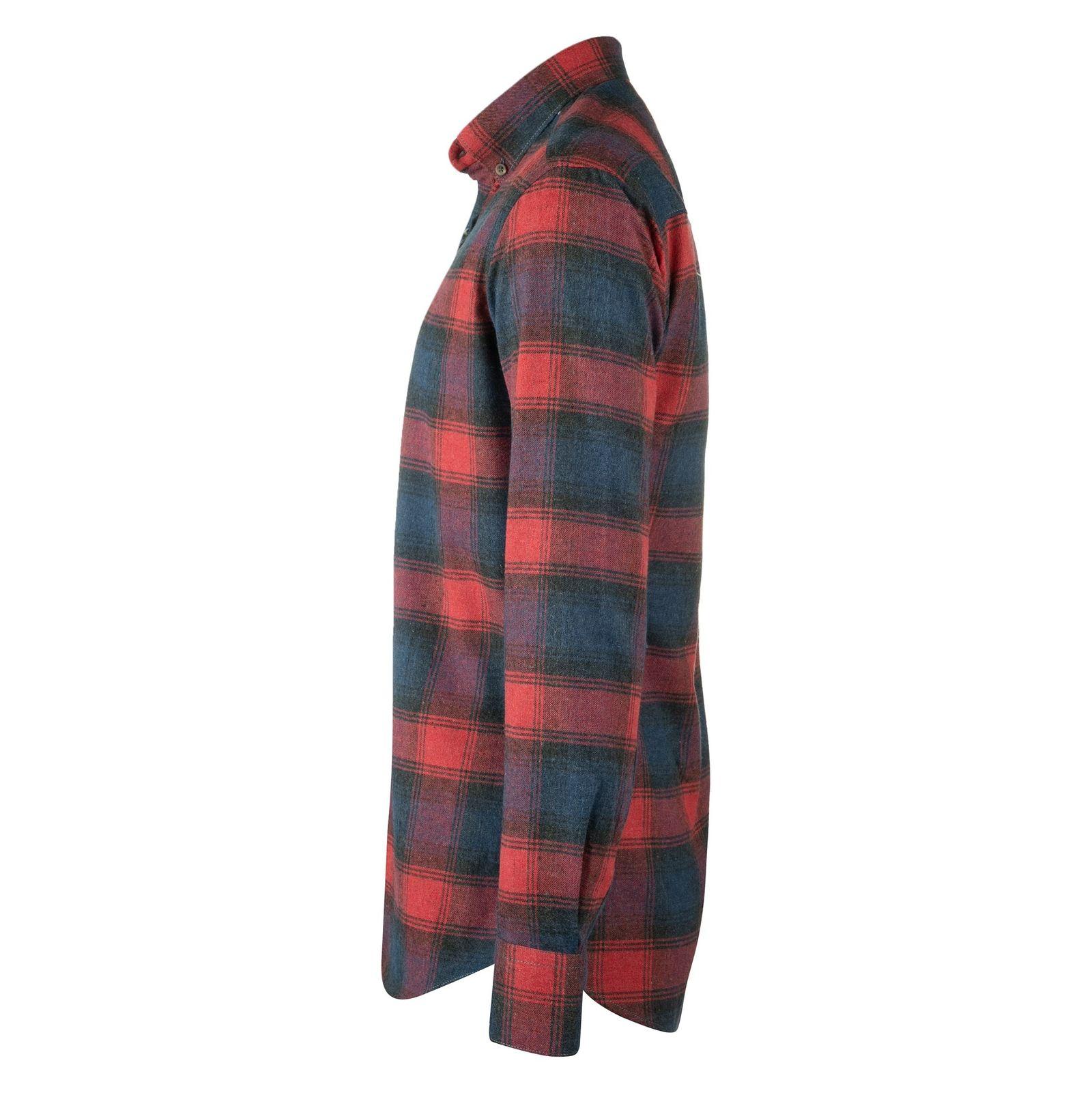 پیراهن نخی آستین بلند مردانه - زی - سرمه اي و طوسي - 4
