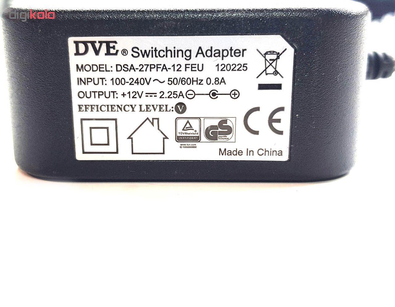 آداپتور 12 ولت 2.25 آمپر دی وی ای مدل DSA-27PFA-12