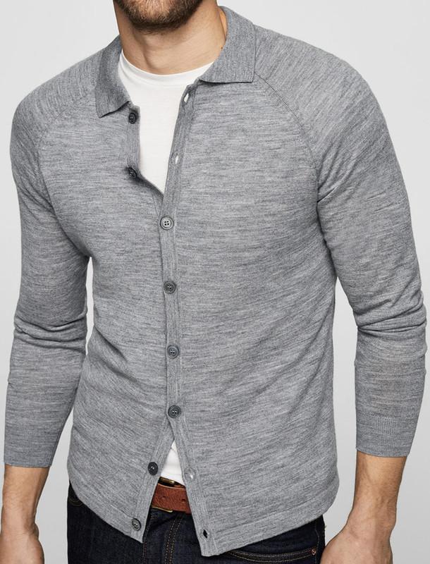 ژاکت پشمی دکمه دار مردانه - مانگو
