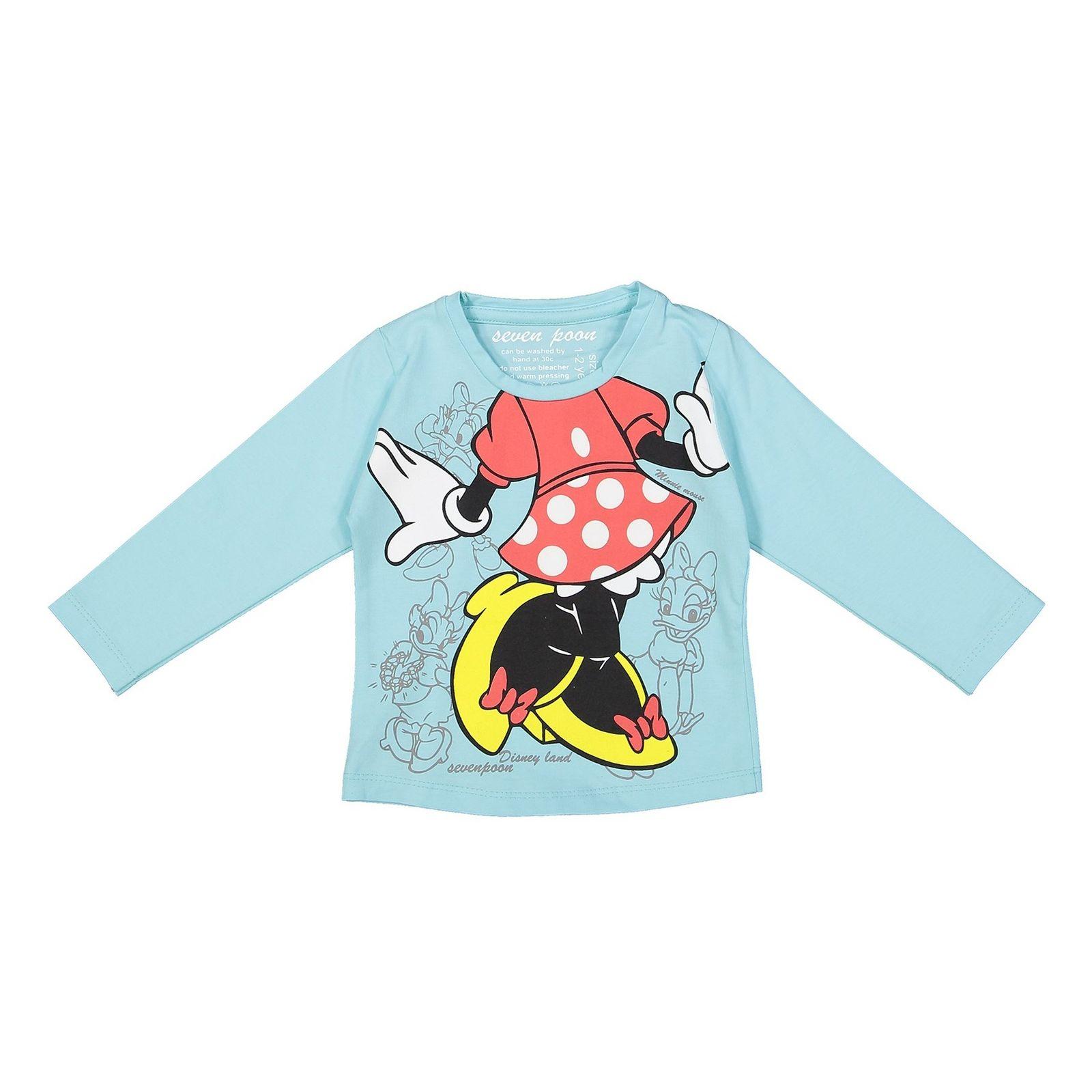 تی شرت نخی یقه گرد دخترانه - سون پون - آبي - 1