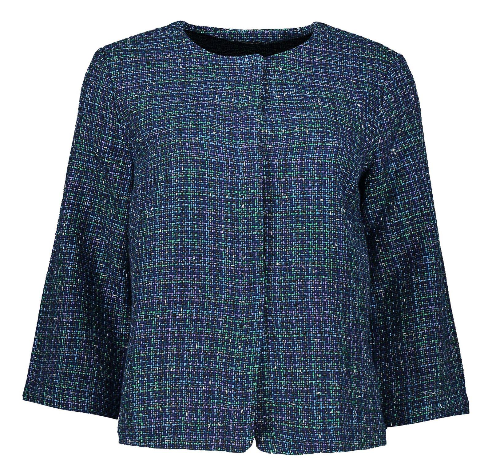 کت نخی کوتاه زنانه - یوپیم - آبي و سبز - 1