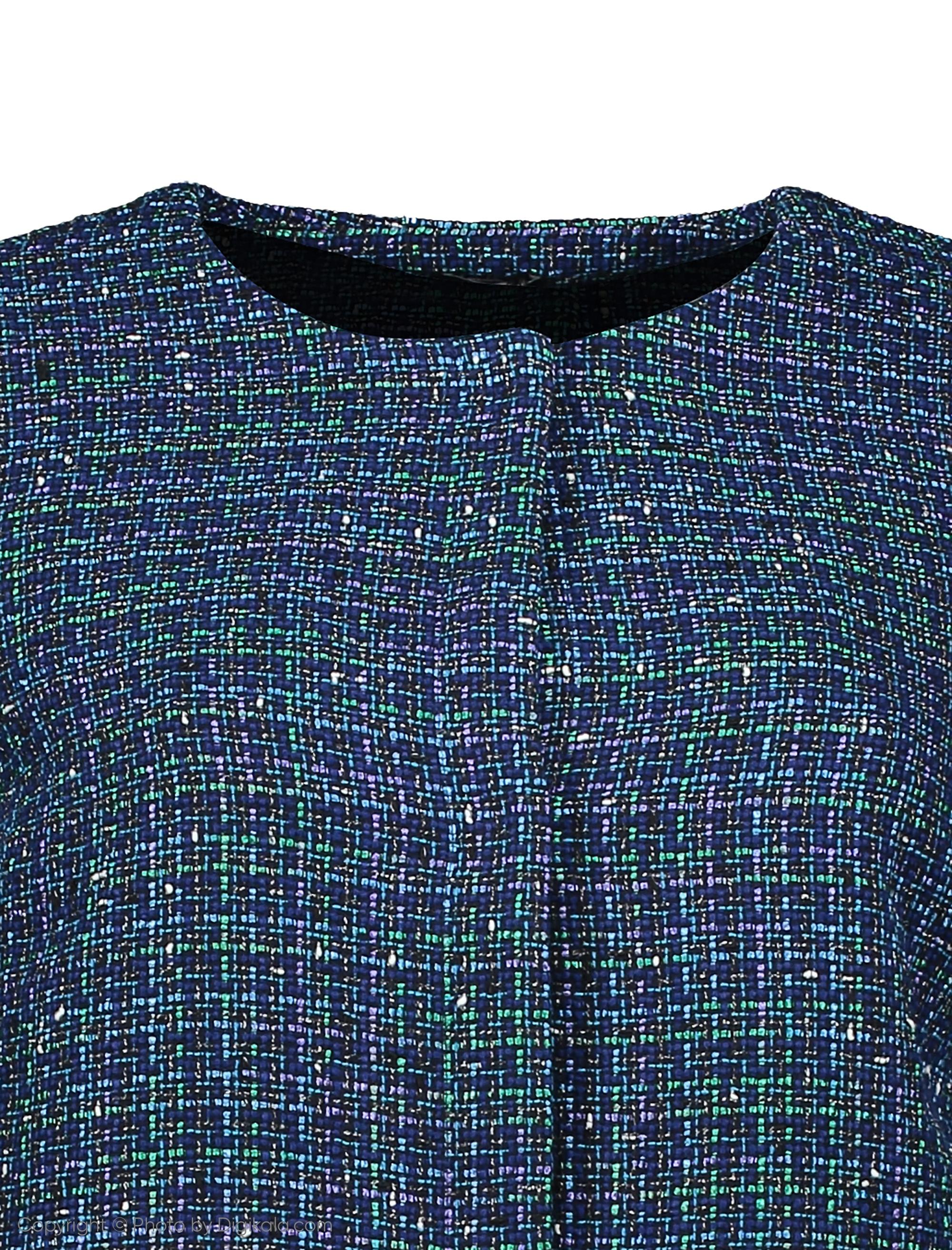کت نخی کوتاه زنانه - یوپیم - آبي و سبز - 4