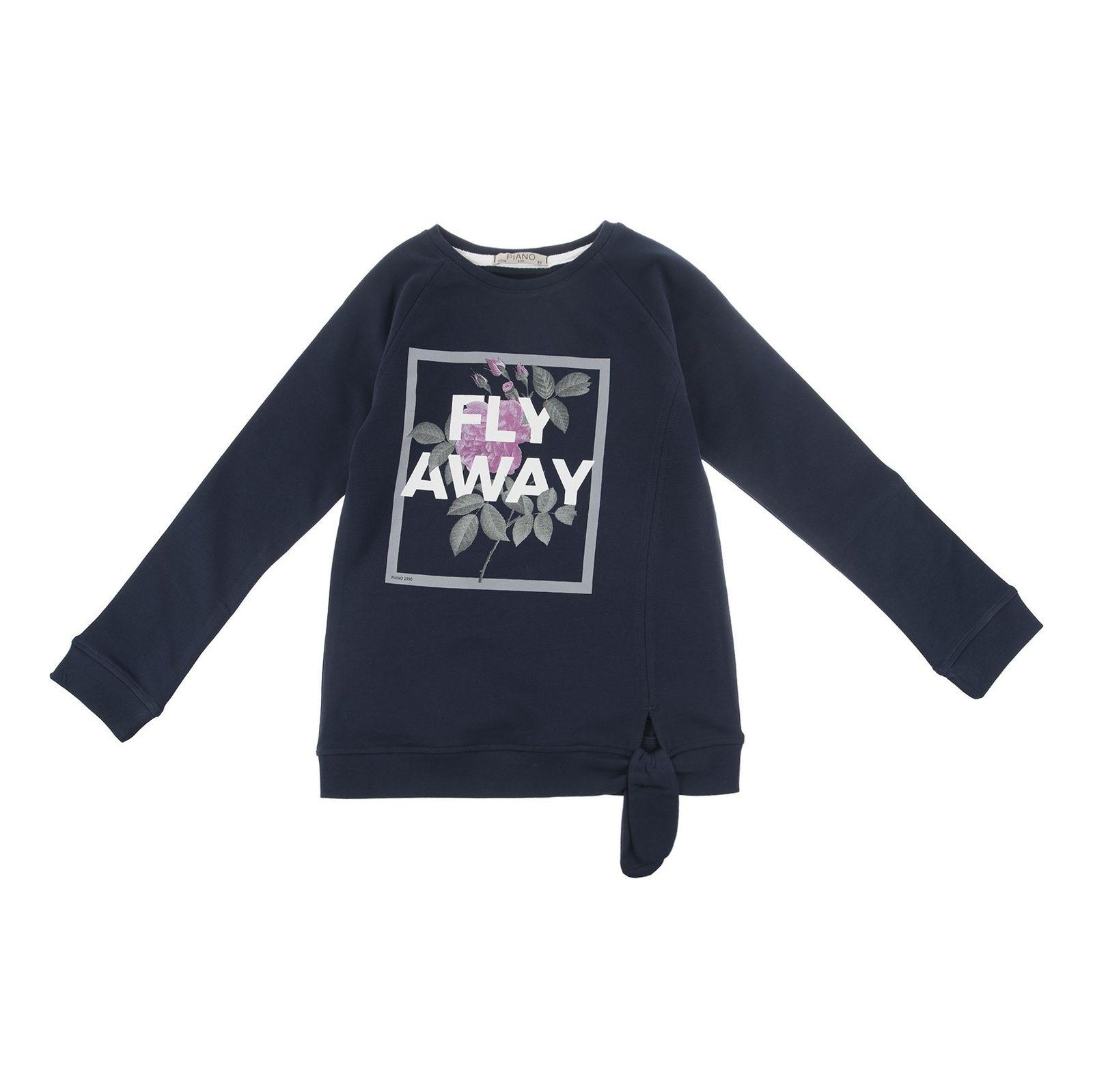 تی شرت نخی دخترانه - پیانو - آبي تيره  - 1