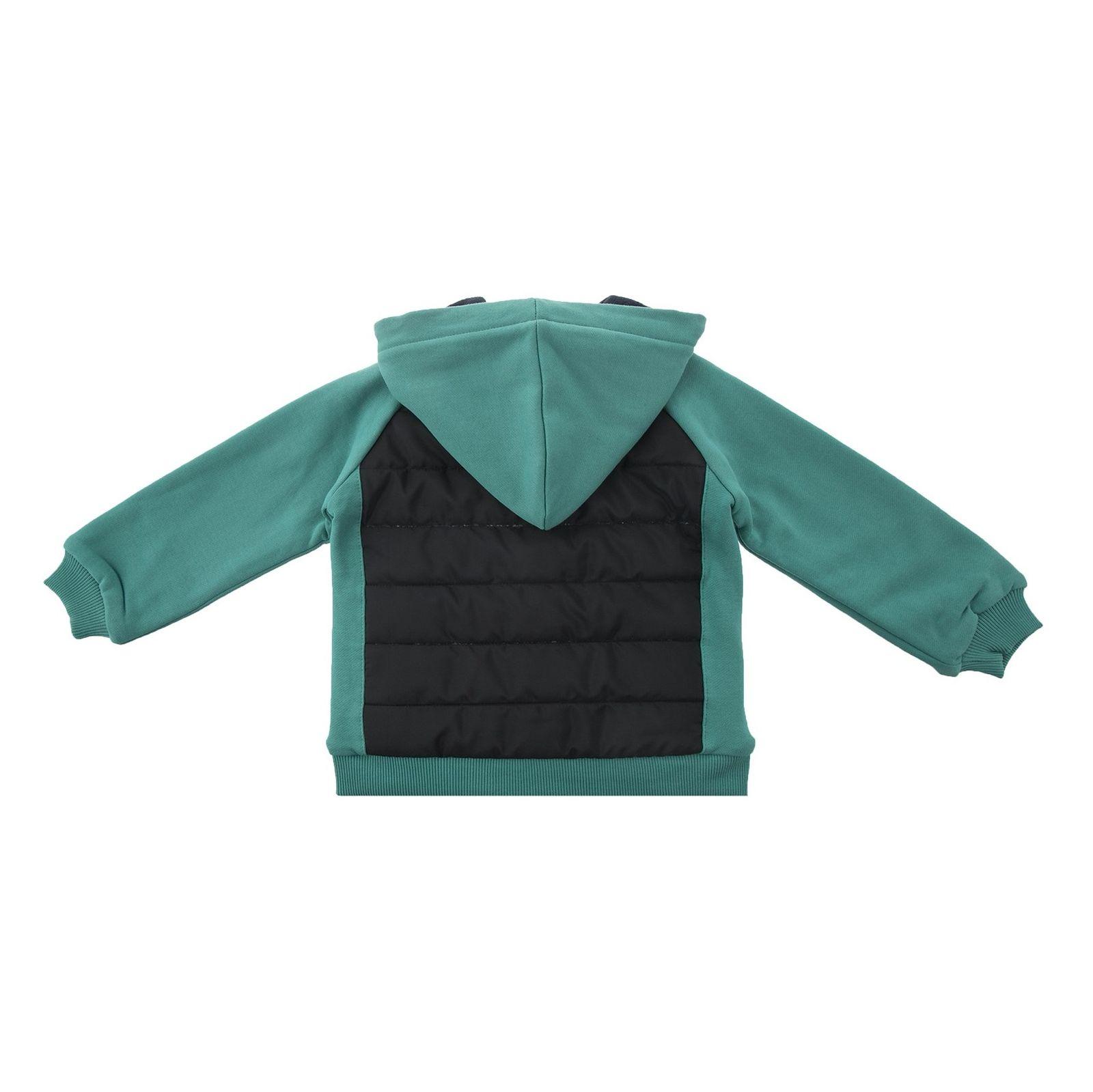 کاپشن نخی کلاه دار دخترانه - پیانو - سبز آبی - 2
