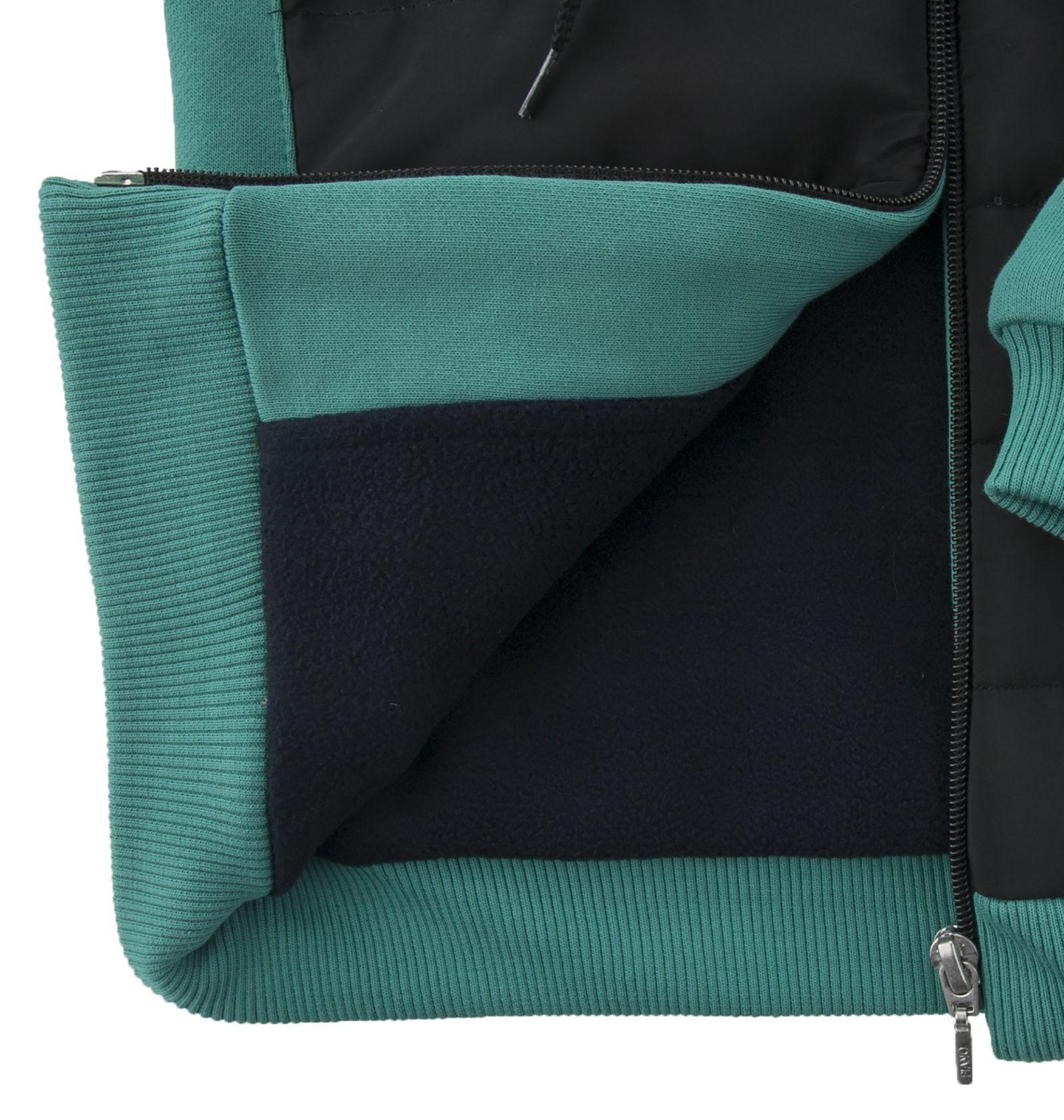 کاپشن نخی کلاه دار دخترانه - پیانو - سبز آبی - 4