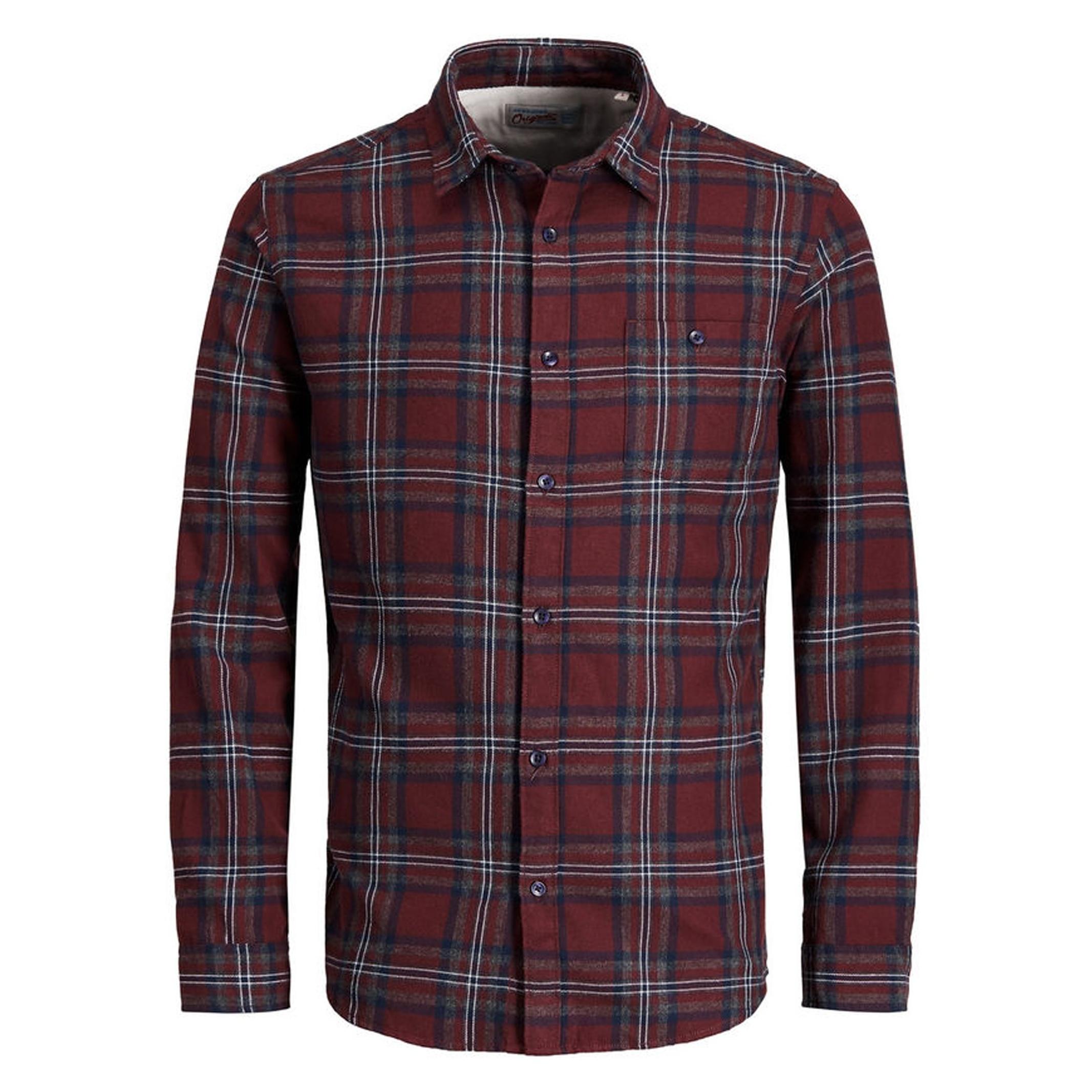 پیراهن نخی آستین بلند مردانه - جک اند جونز - زرشکي - 1
