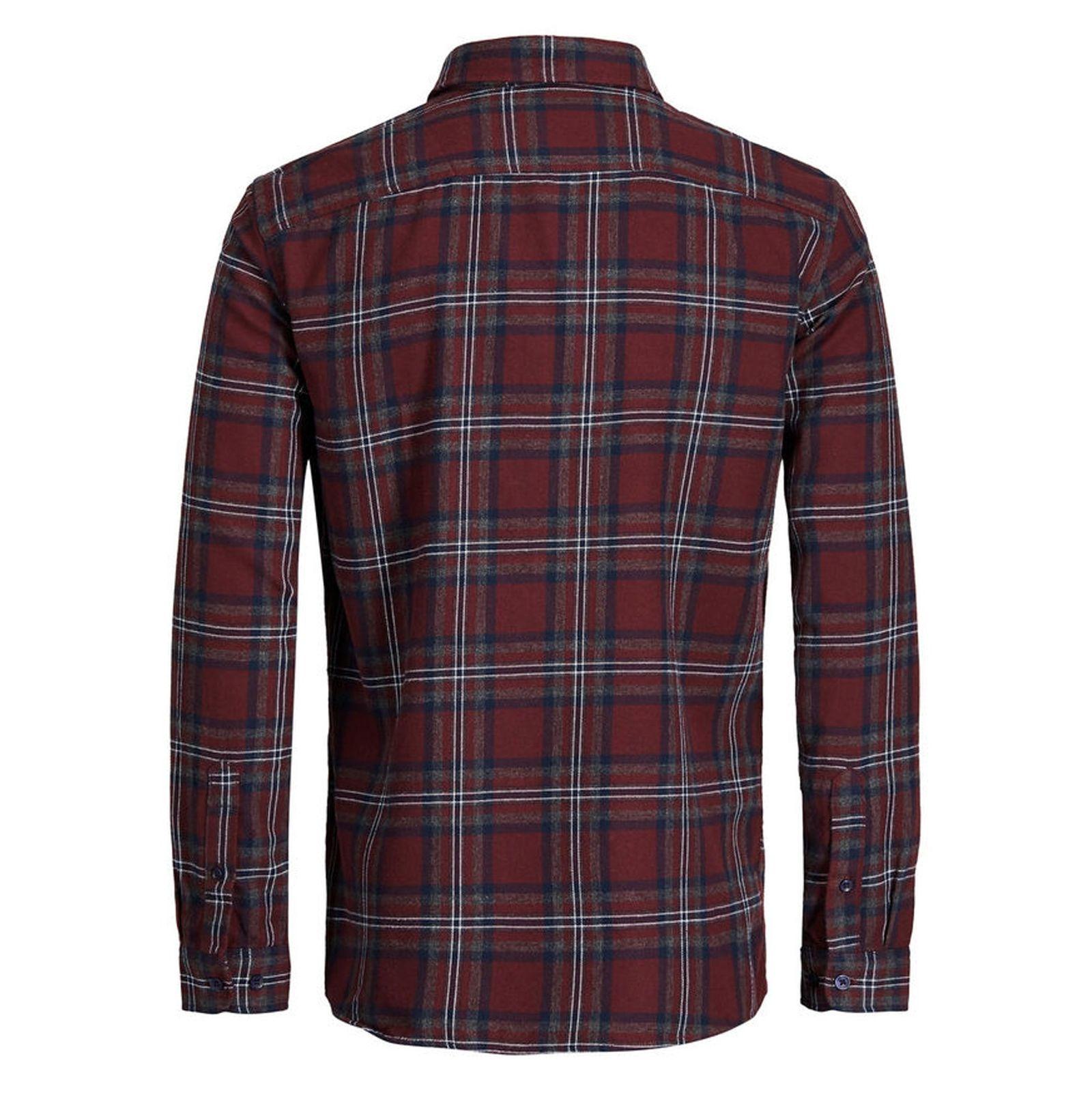 پیراهن نخی آستین بلند مردانه - جک اند جونز - زرشکي - 2