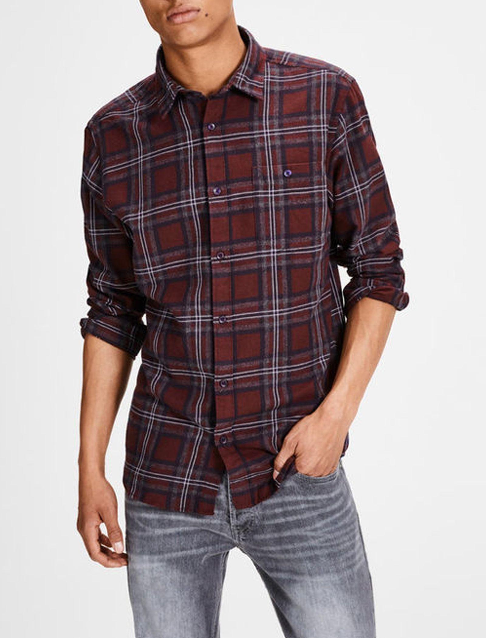 پیراهن نخی آستین بلند مردانه - جک اند جونز - زرشکي - 3