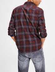 پیراهن نخی آستین بلند مردانه - جک اند جونز - زرشکي - 4