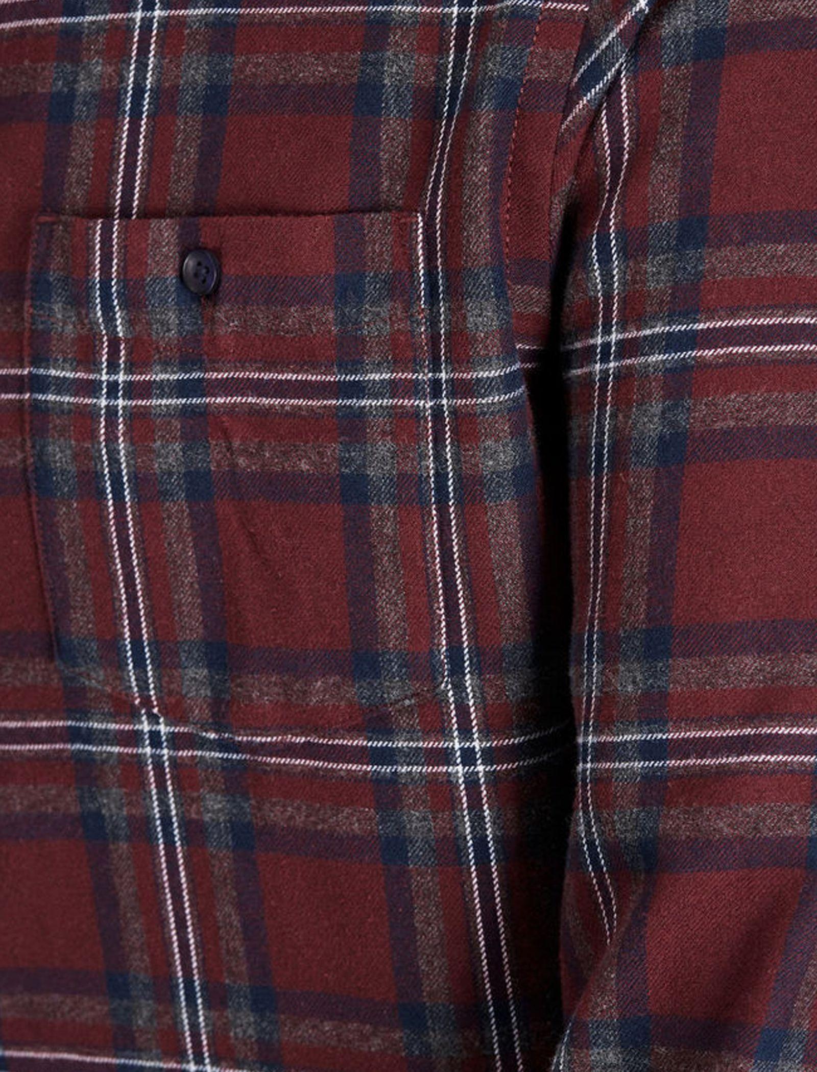 پیراهن نخی آستین بلند مردانه - جک اند جونز - زرشکي - 6