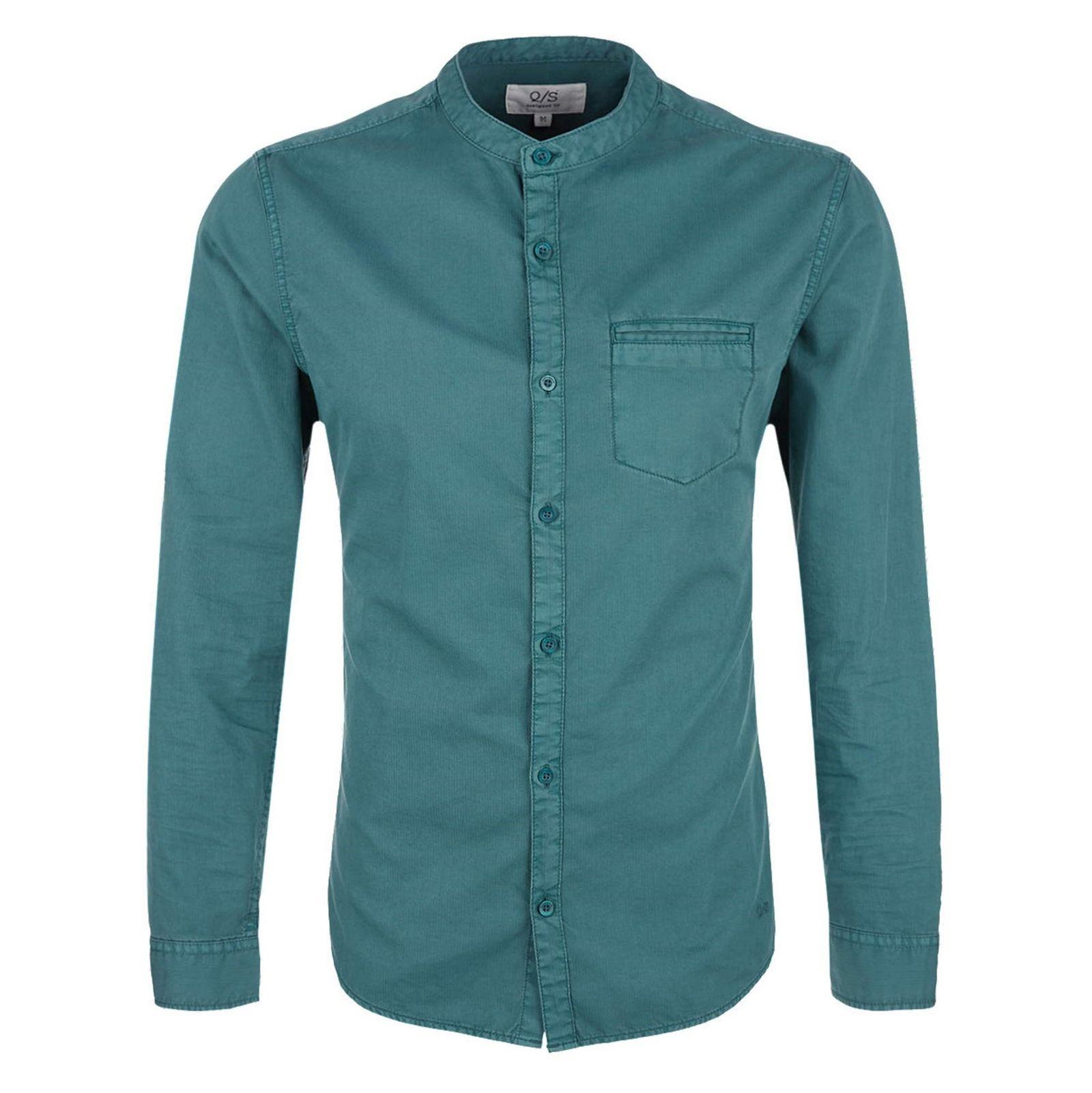 پیراهن نخی آستین بلند مردانه - اس.اولیور - سبز - 1